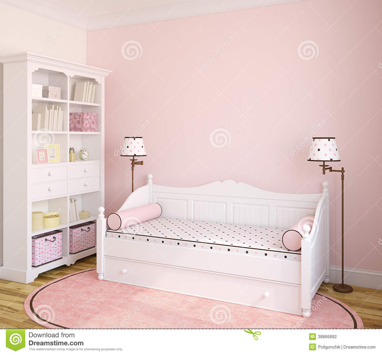 Interior of toddler room stock illustration image of Pink room with white furniture