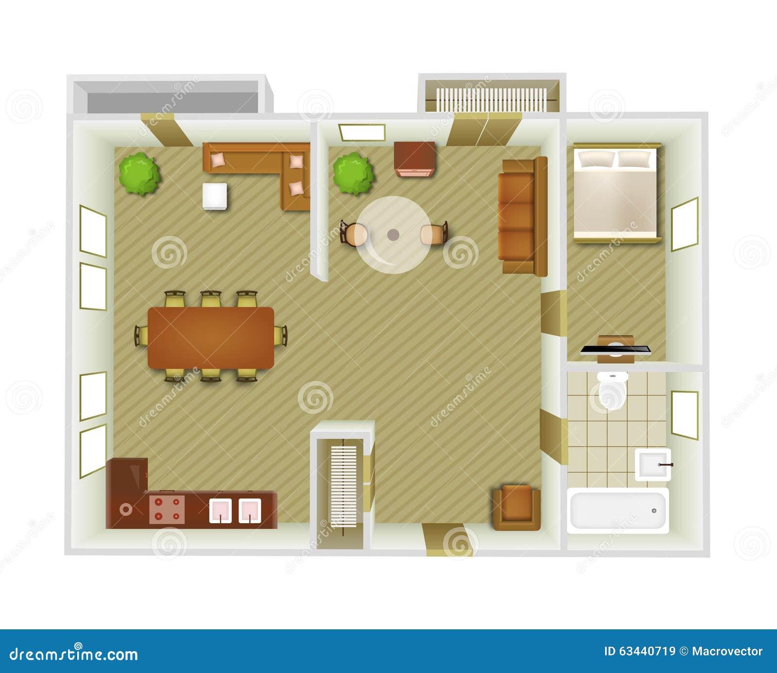 Kitchen Set Top View: Interior Top View Stock Vector. Image Of Bedroom