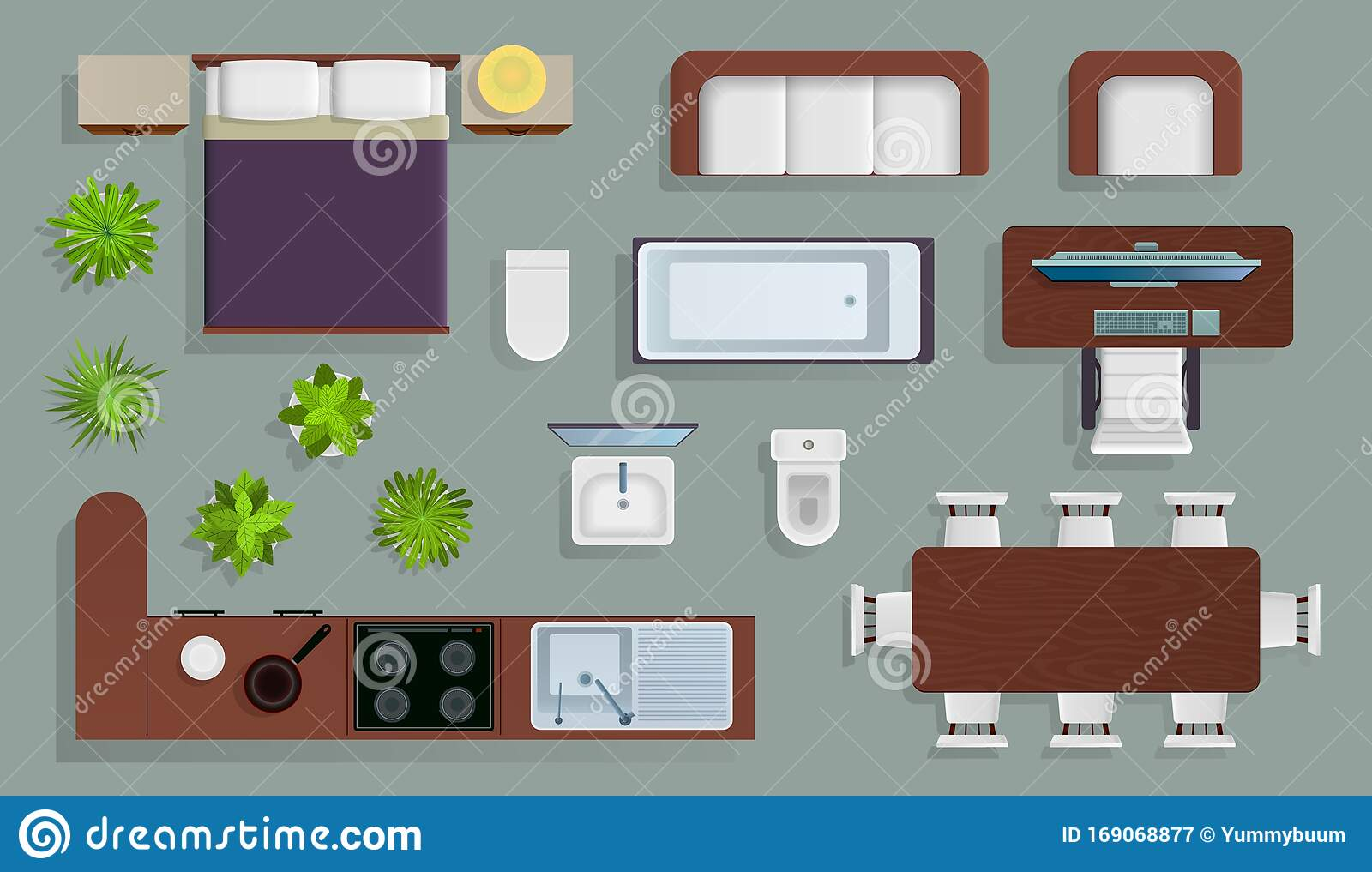 Interior Top View Office Furniture Design Elements Bedroom And Kitchen Bathroom Plan Store And Apartment View From Stock Vector Illustration Of Lounge Armchair 169068877