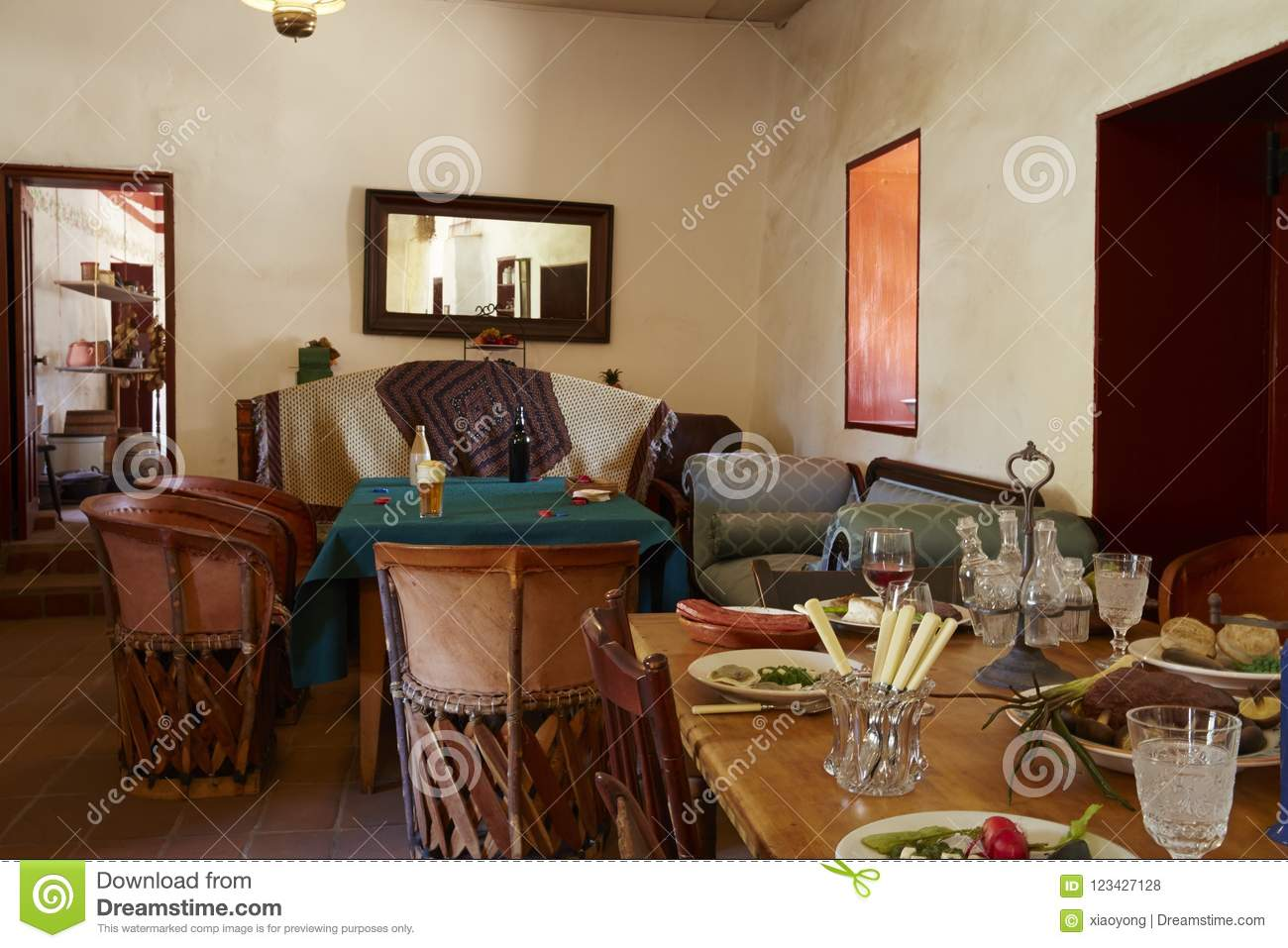 Interior Of Traditional Spanish Or Mexican Casa, San Diego
