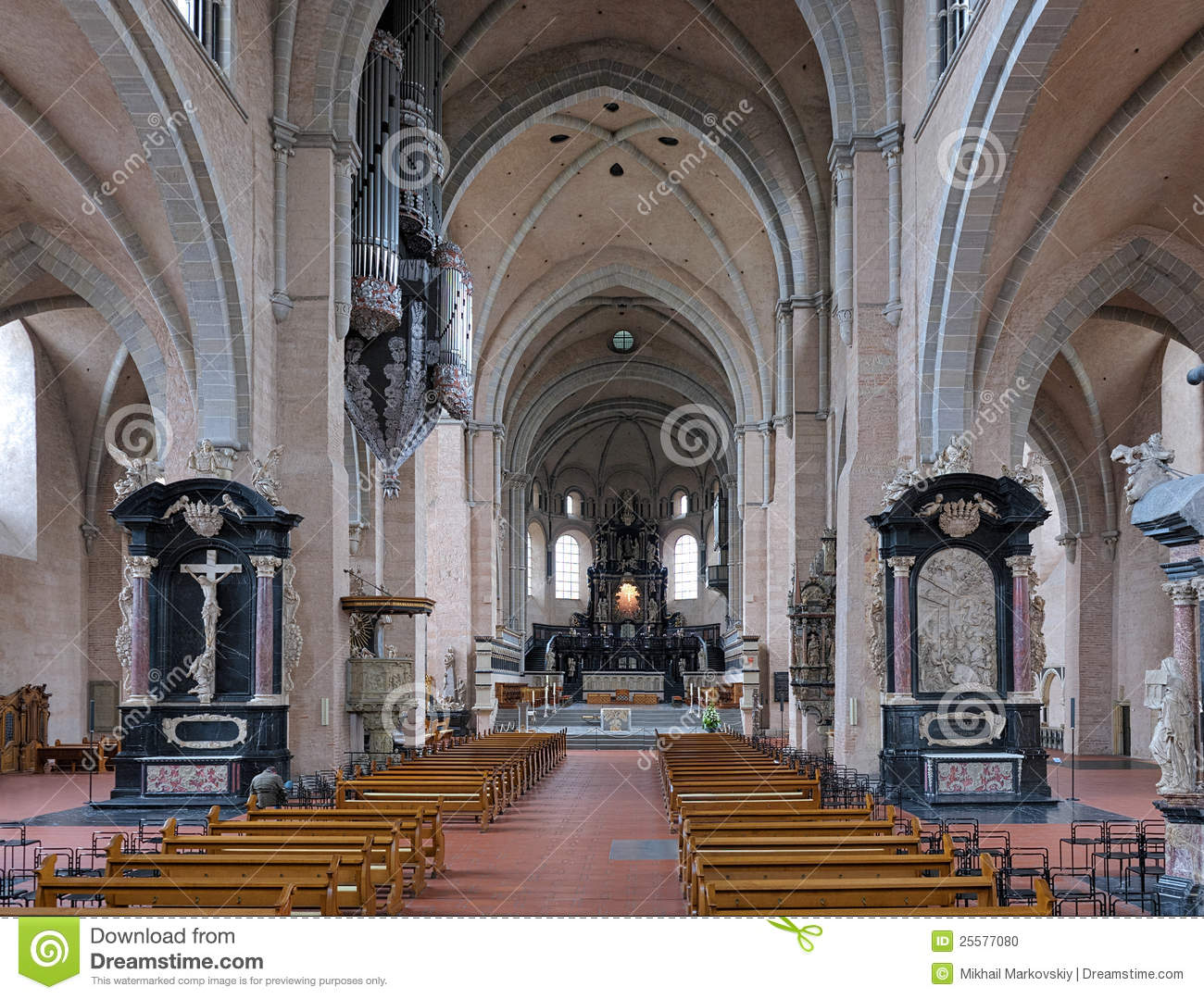 interior of the trier cathedral germany stock photo