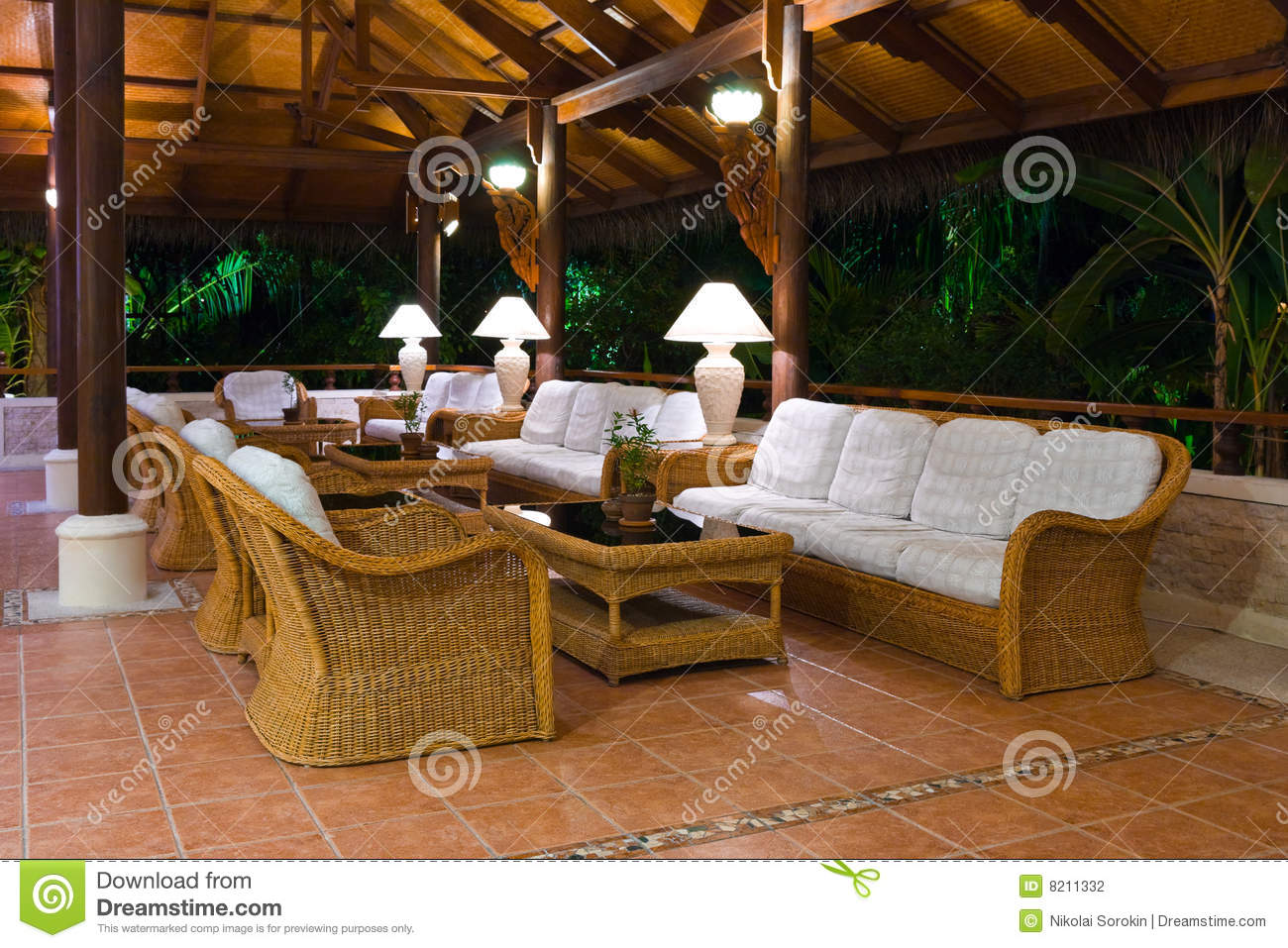 Interior Of Tropical Hotel Lobby Reception Stock Photo