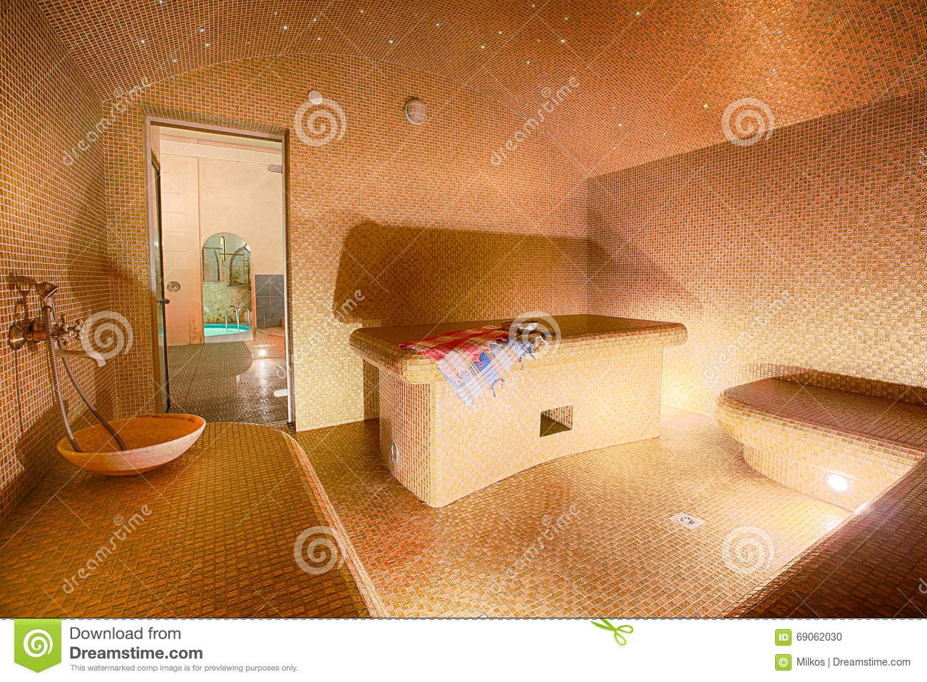 interior of turkish sauna hammam at spa center stock photo image 69062030. Black Bedroom Furniture Sets. Home Design Ideas