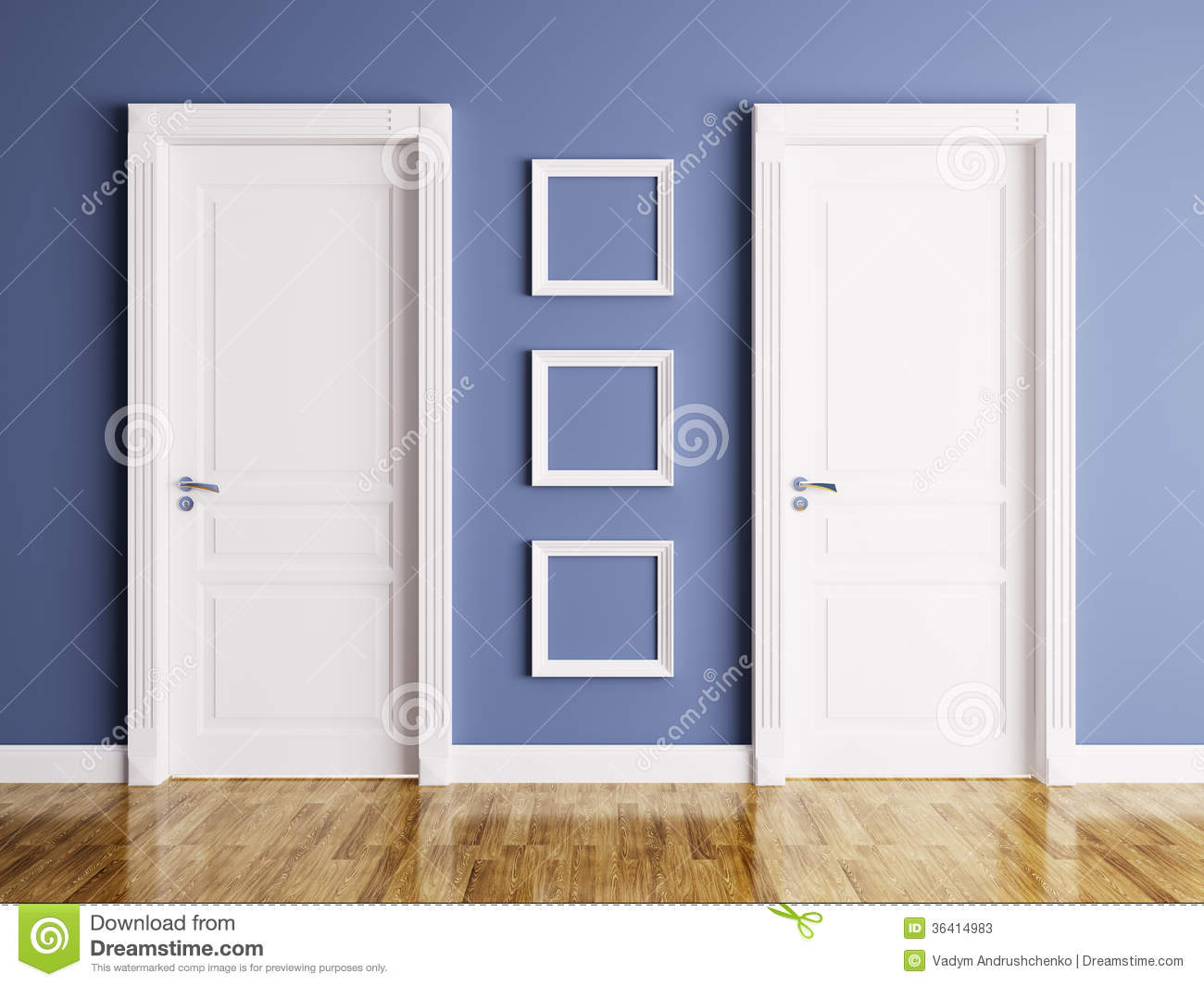 Interior With Two Doors And Frames Stock Illustration Illustration