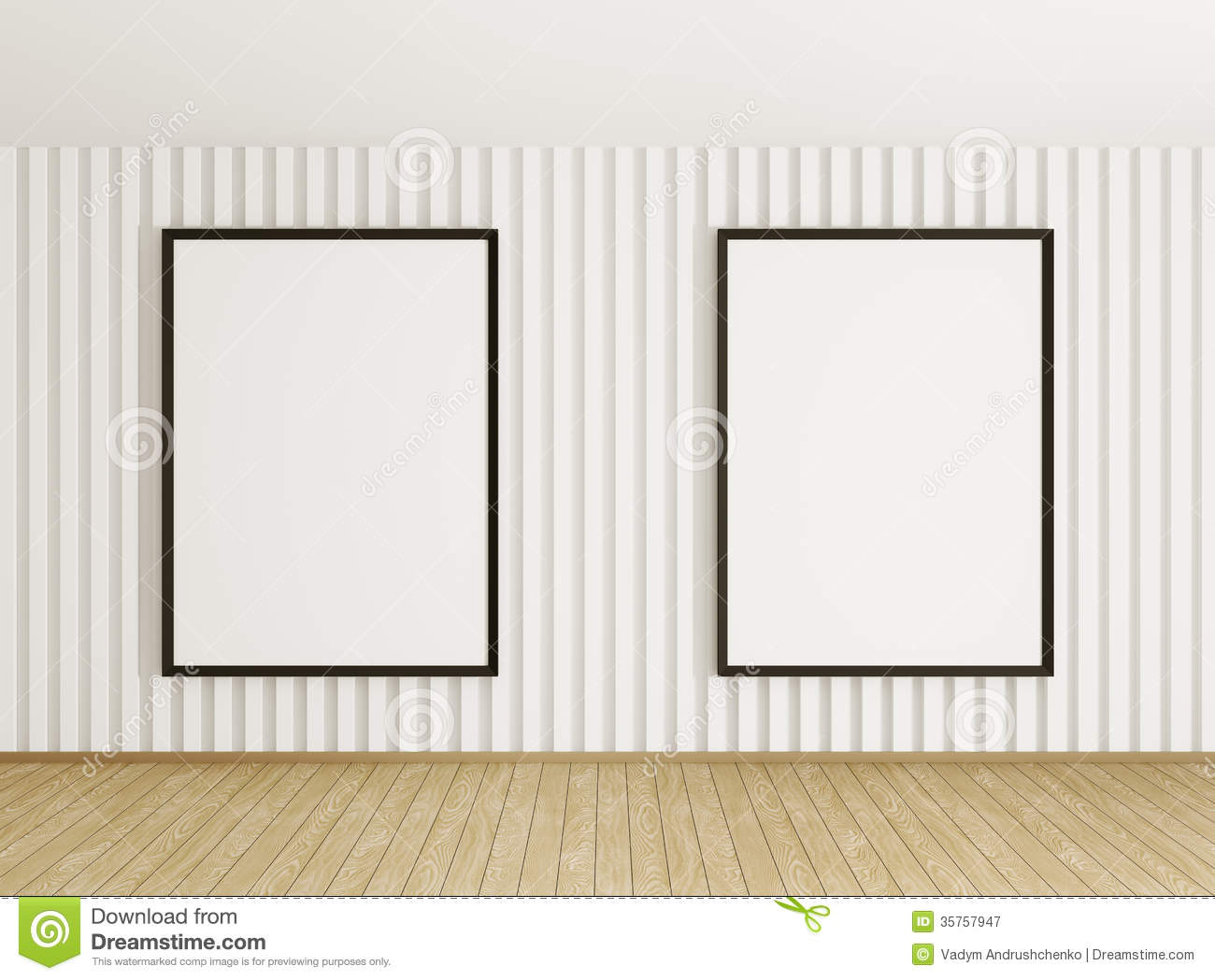Interior With Two Frames Stock Illustration Illustration Of Paper