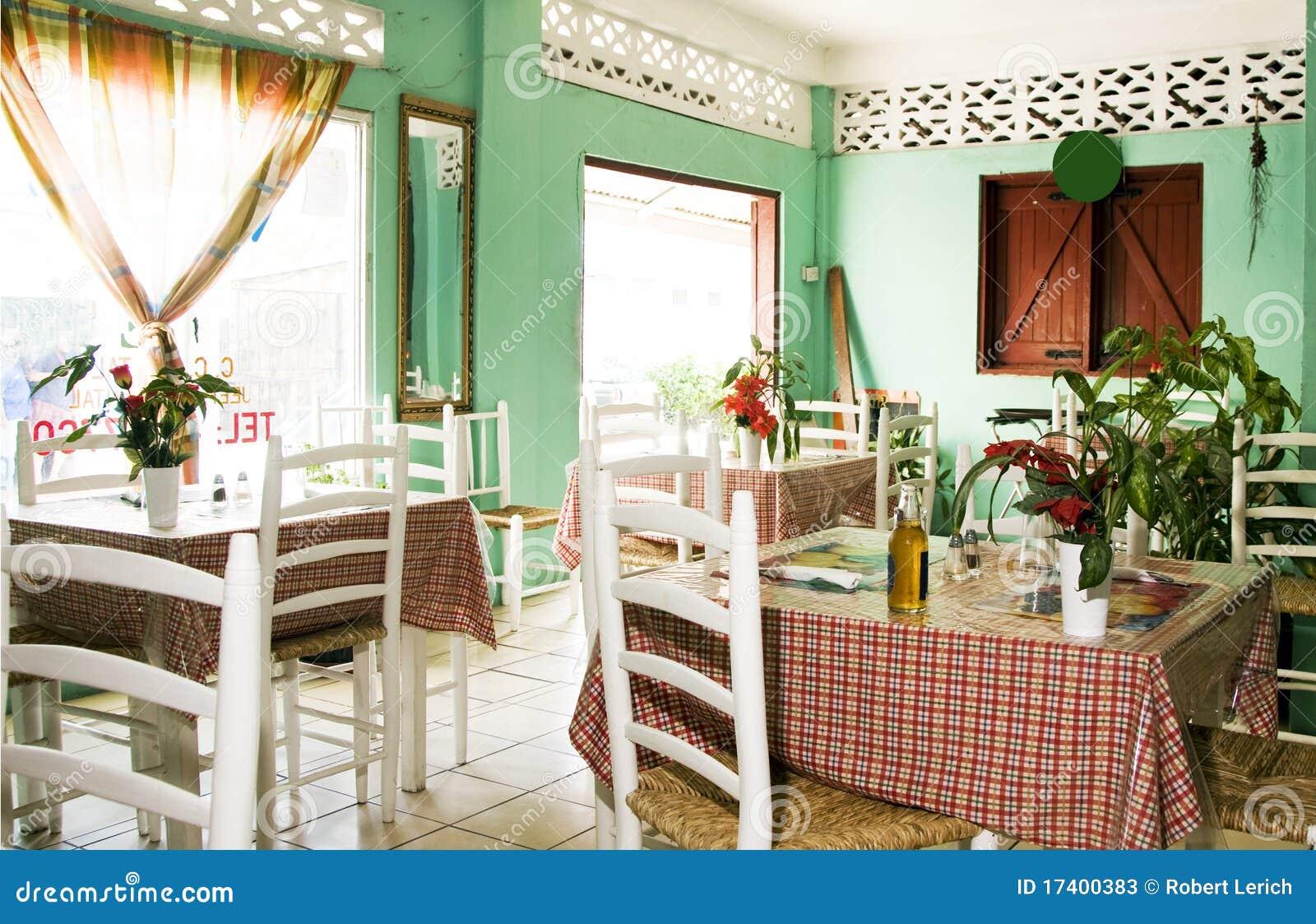 Interior typical restaurant caribbean st lucia stock