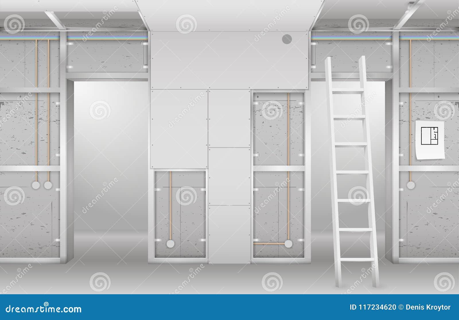 Interior Under Construction Stock Illustration - Illustration of ...