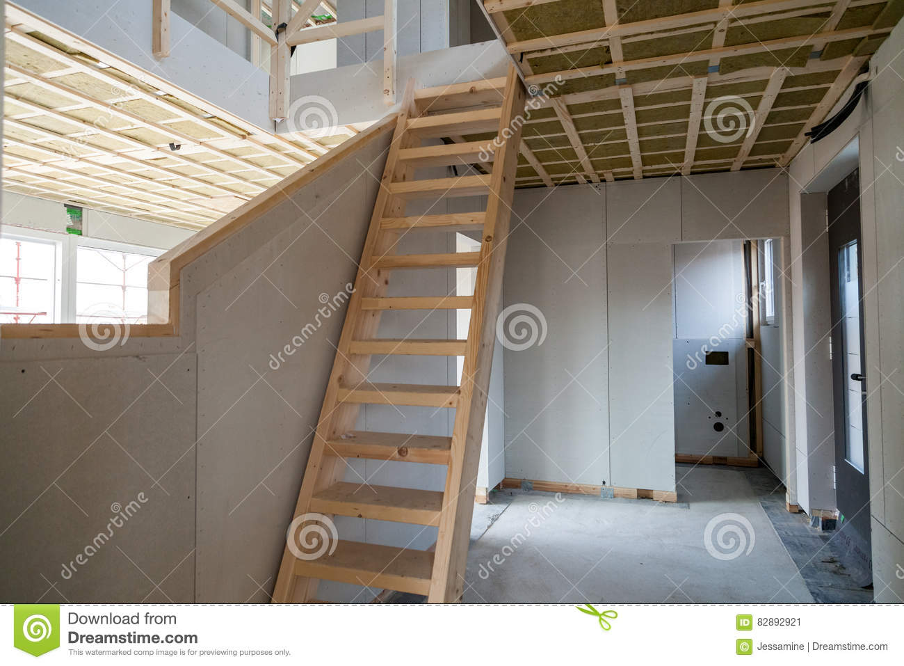 Interior Of Unfinished Prefabricated House Stock Image ...