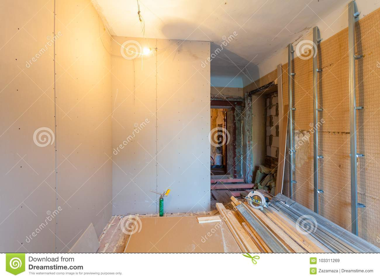 Interior of upgrade apartment with materials during on the remodeling, renovation, extension, restoration