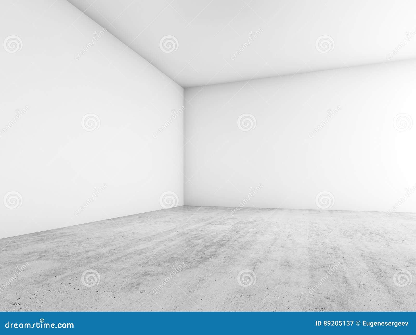 Interior vacío abstracto, esquina de paredes blancas en blanco