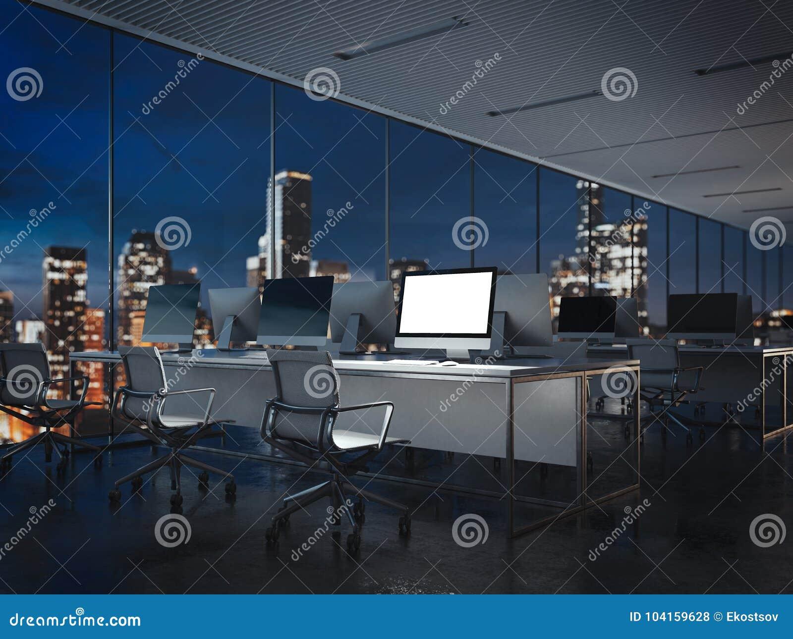 Interior vacío de la oficina de la noche con la exhibición brillante representación 3d