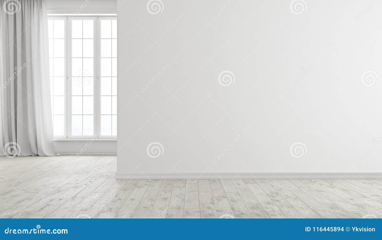 Interior vazio brilhante moderno branco da sala com janela, o assoalho de madeira e a cortina