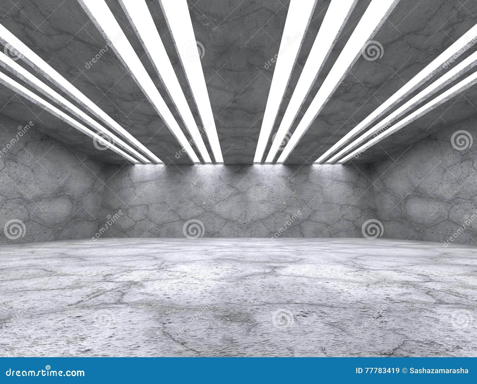Interior vazio concreto da sala Fundo abstrato da arquitetura