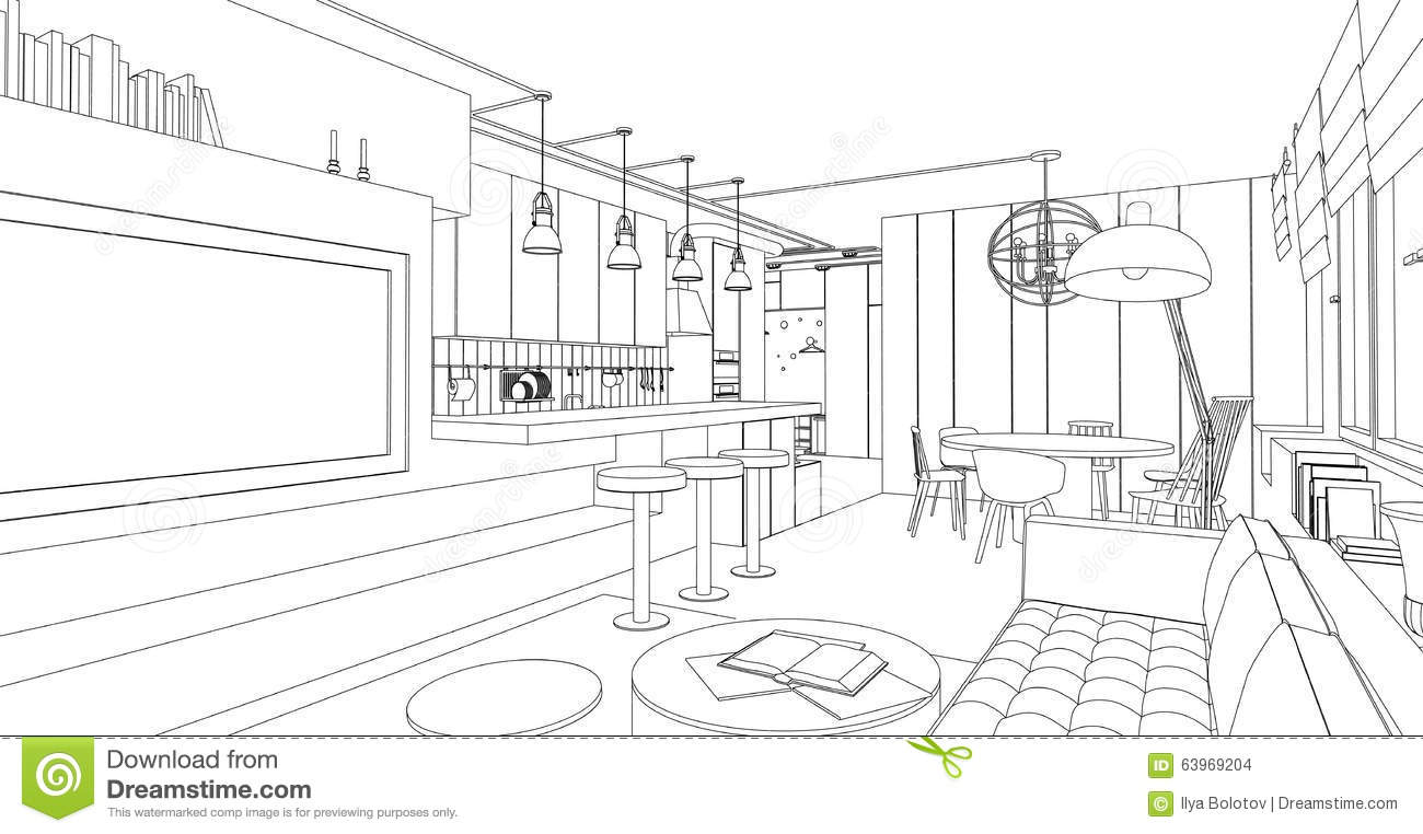Interior vector drawing stock vector illustration of for Interior design layout drawing