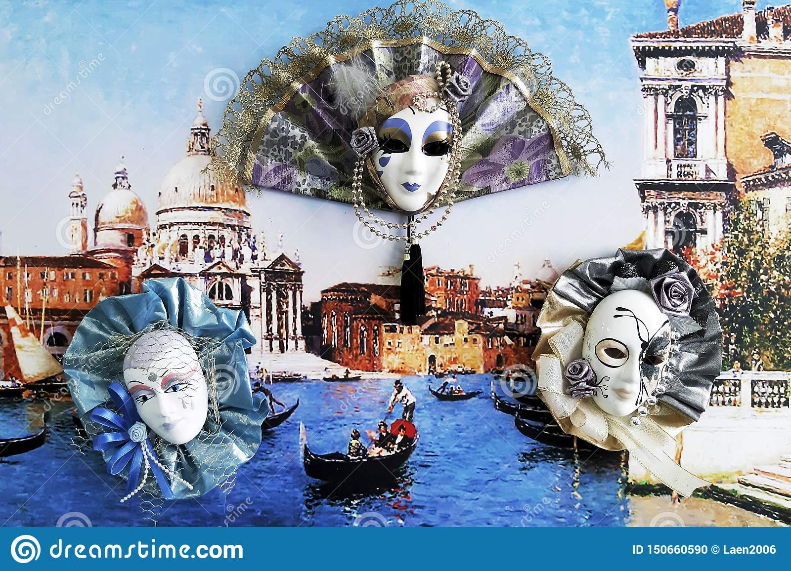 Interior Venetian carnival masks on colorful background.
