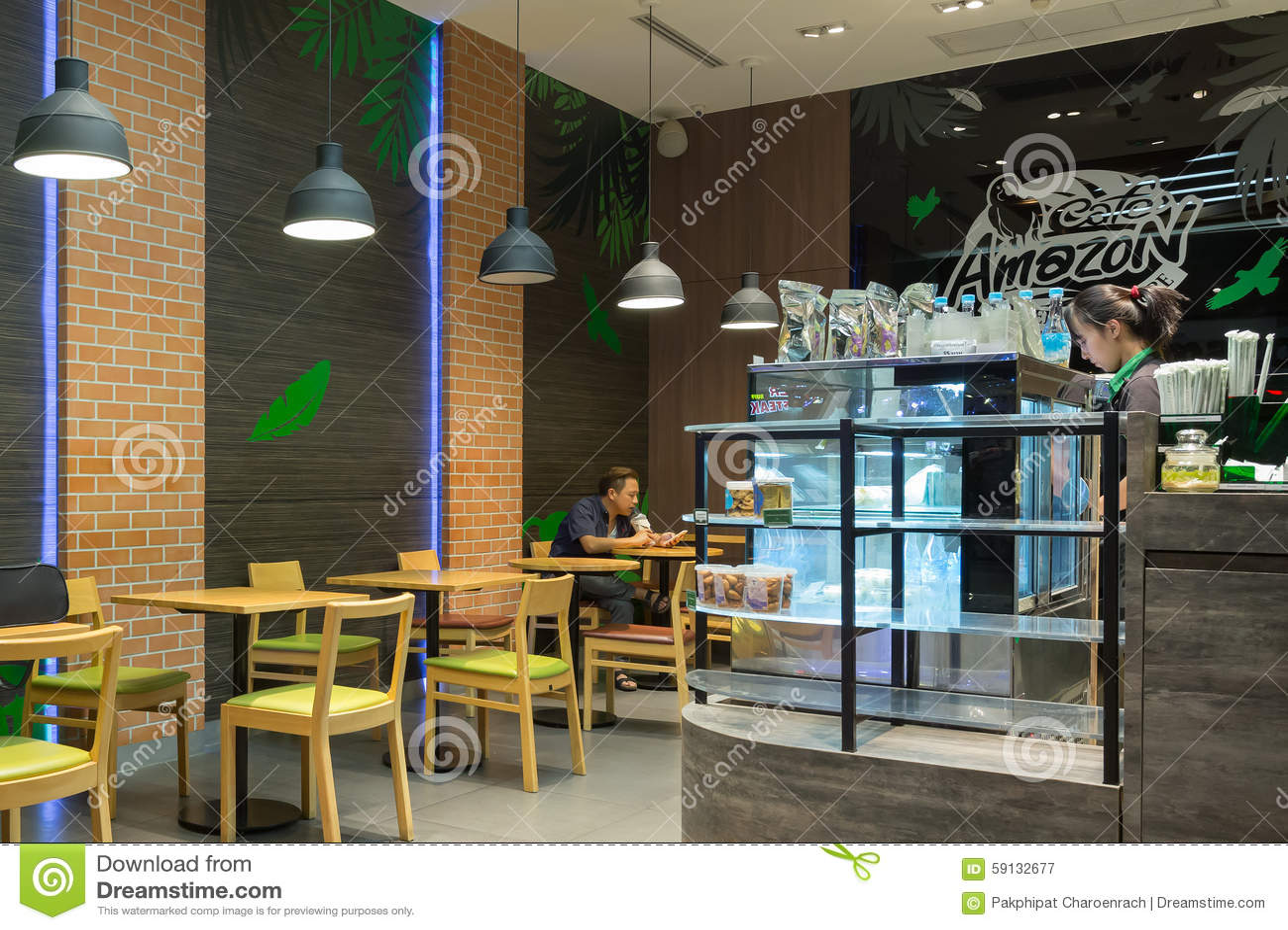 Interior view of cafe amazon coffee shop editorial for Amazon design shop