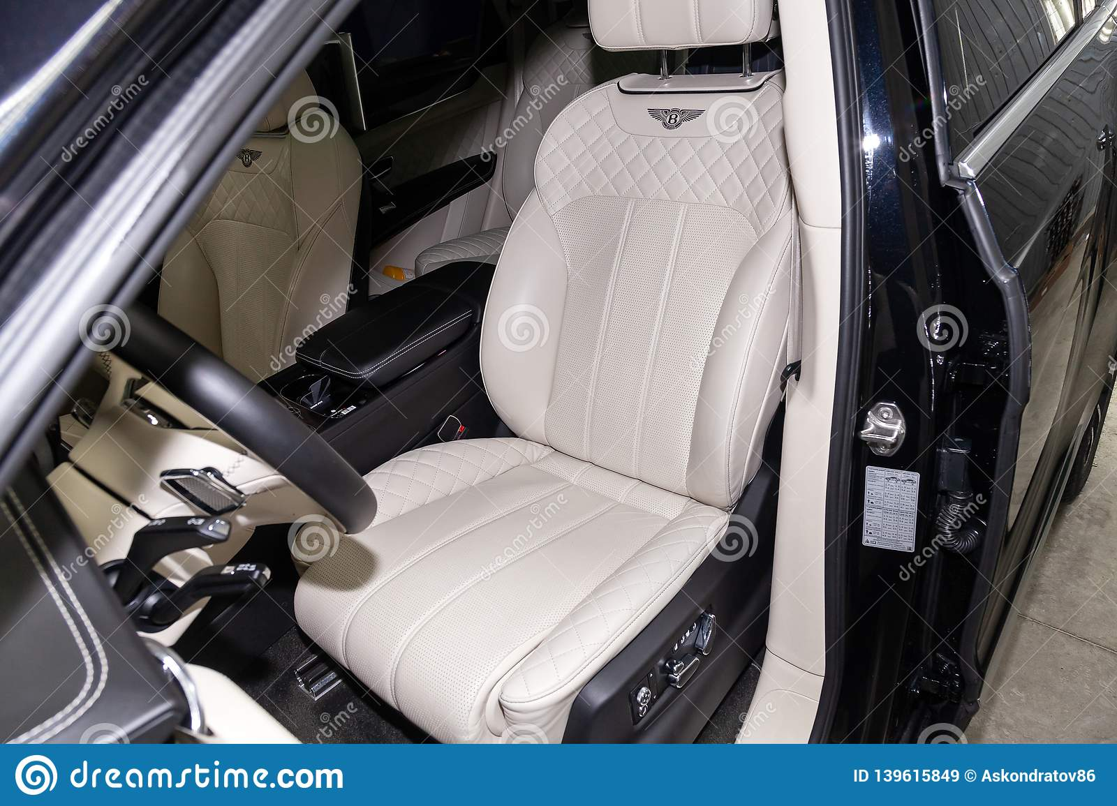 Interior View With Driver Seat Of Luxury Very Expensive New Black Bentley Bentayga Car Stands In The Washing Box Waiting For Editorial Stock Image Image Of Drive Large 139615849