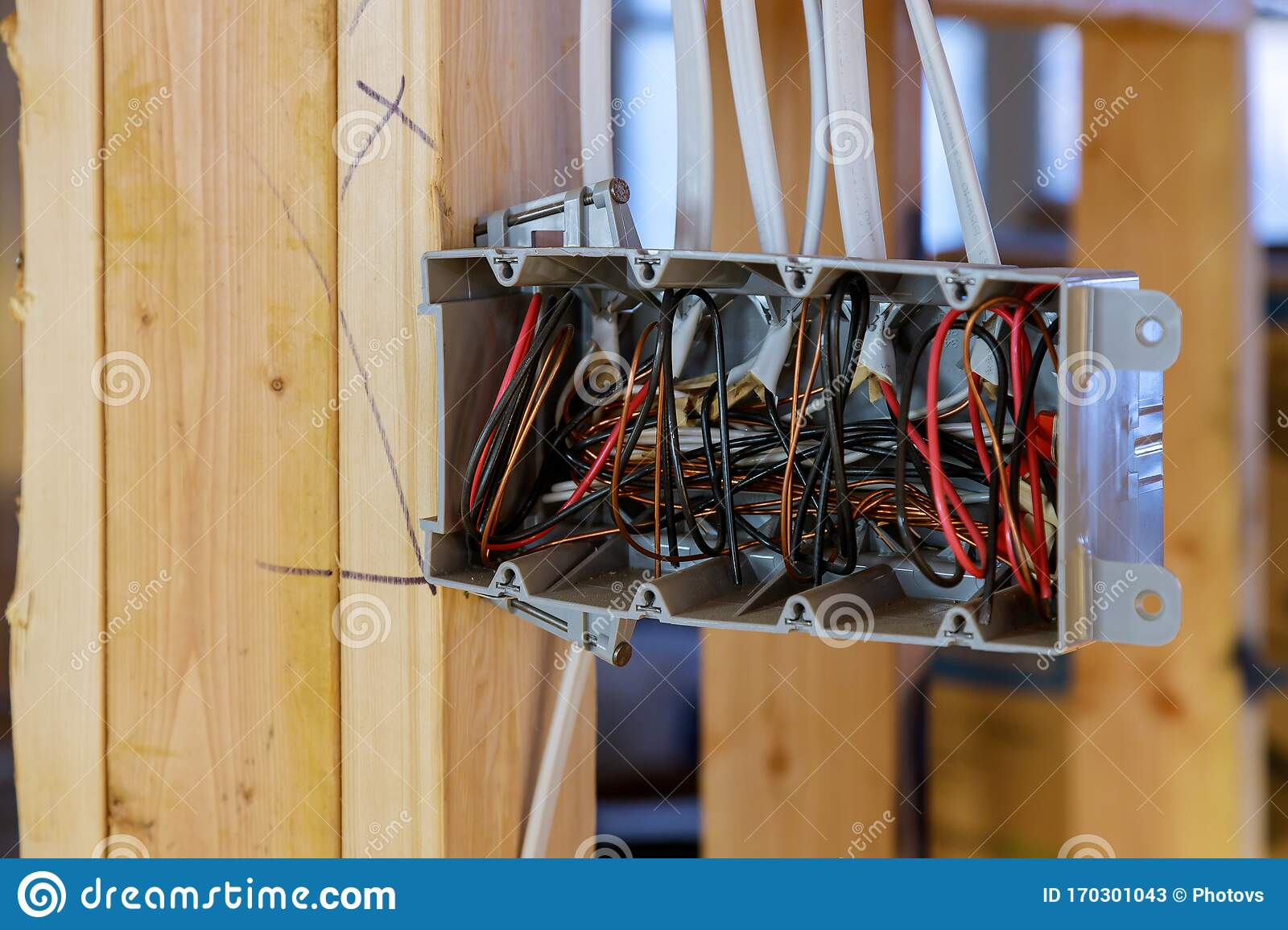 Interior View Of A Electrical Box With Wiring In A New Home Under Construction Wooden Beams Stock Image Image Of Frame House 170301043