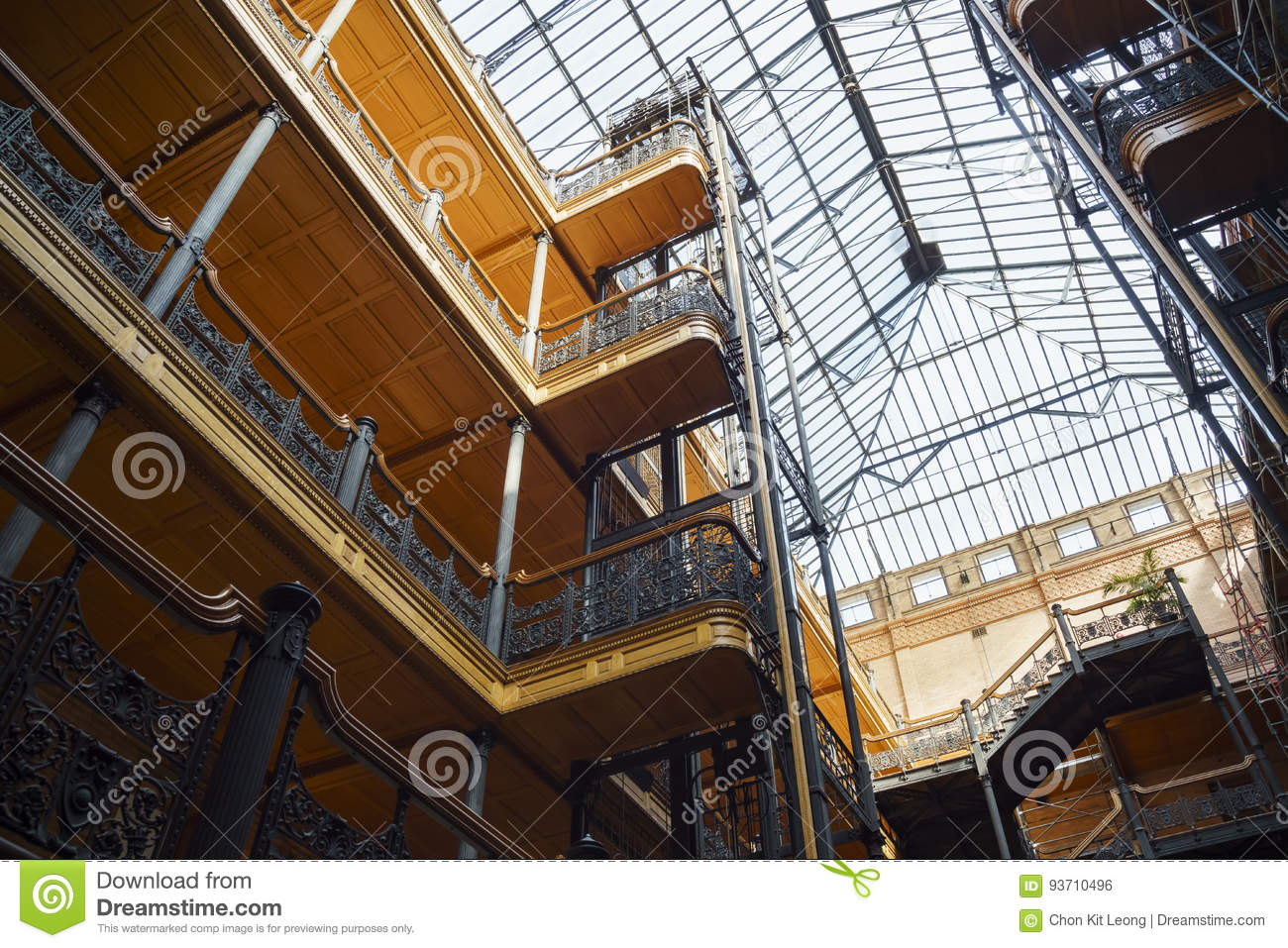 Interior View Of The Famous And Historical Bradbury Building Stock