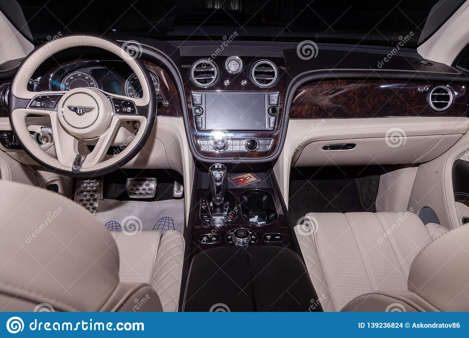 Interior View Of Luxury Very Expensive New Black Bentley Bentay Car Stands In The Washing Box Waiting For Repair In Auto Editorial Stock Image Image Of Manufacturer Gauge 139236824