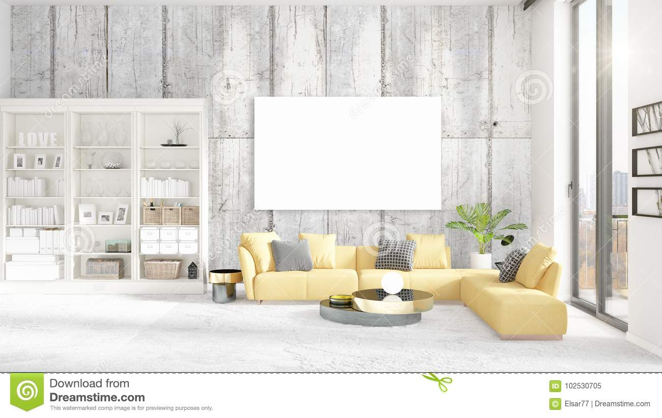 Fashionable Modern Loft Interior In Vogue With Empty Frame And Copyspace Horizontal Arrangement 3D Rendering