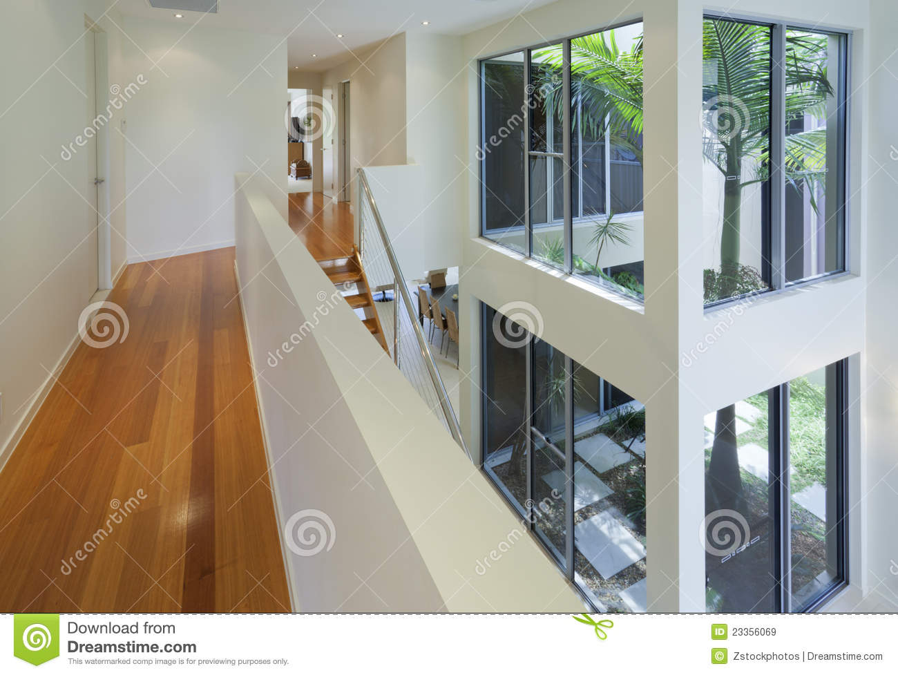 interior view of modern multi level house royalty free stock