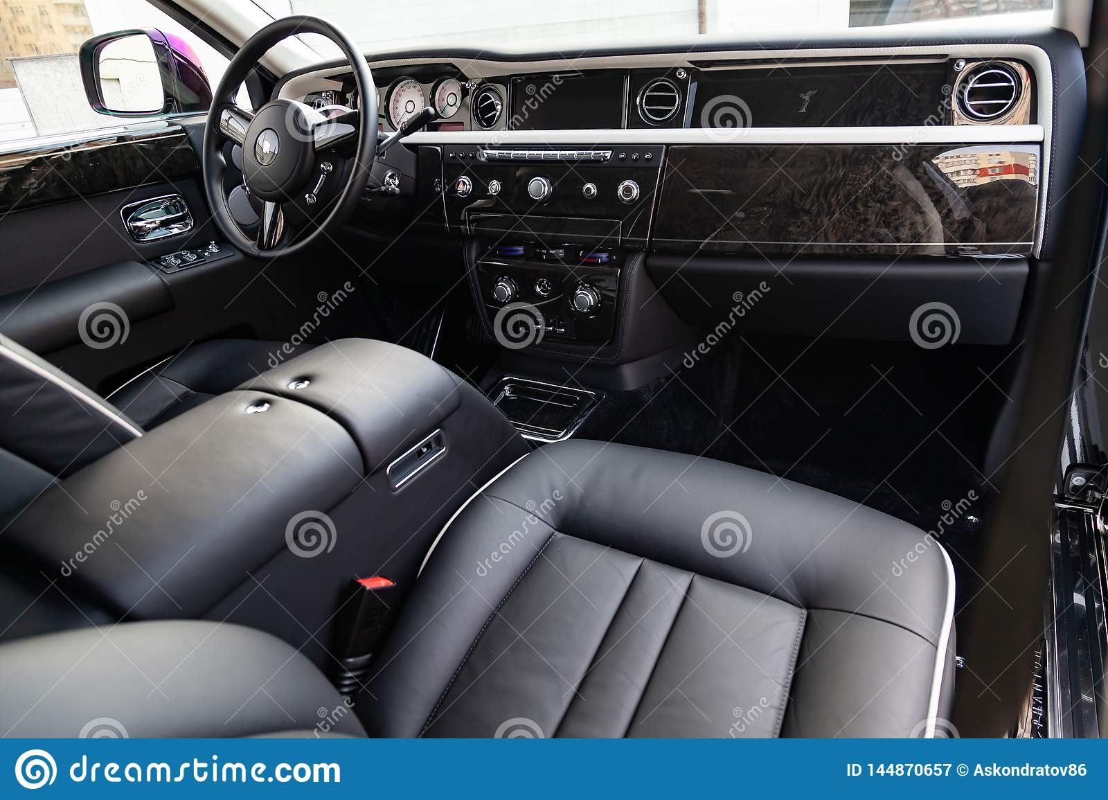 Interior View Of New A Very Expensive Rolls Royce Phantom Car A Long Black Limousine With Dashboard Steering Wheel Seats On Editorial Photography Image Of Germany Classic 144870657