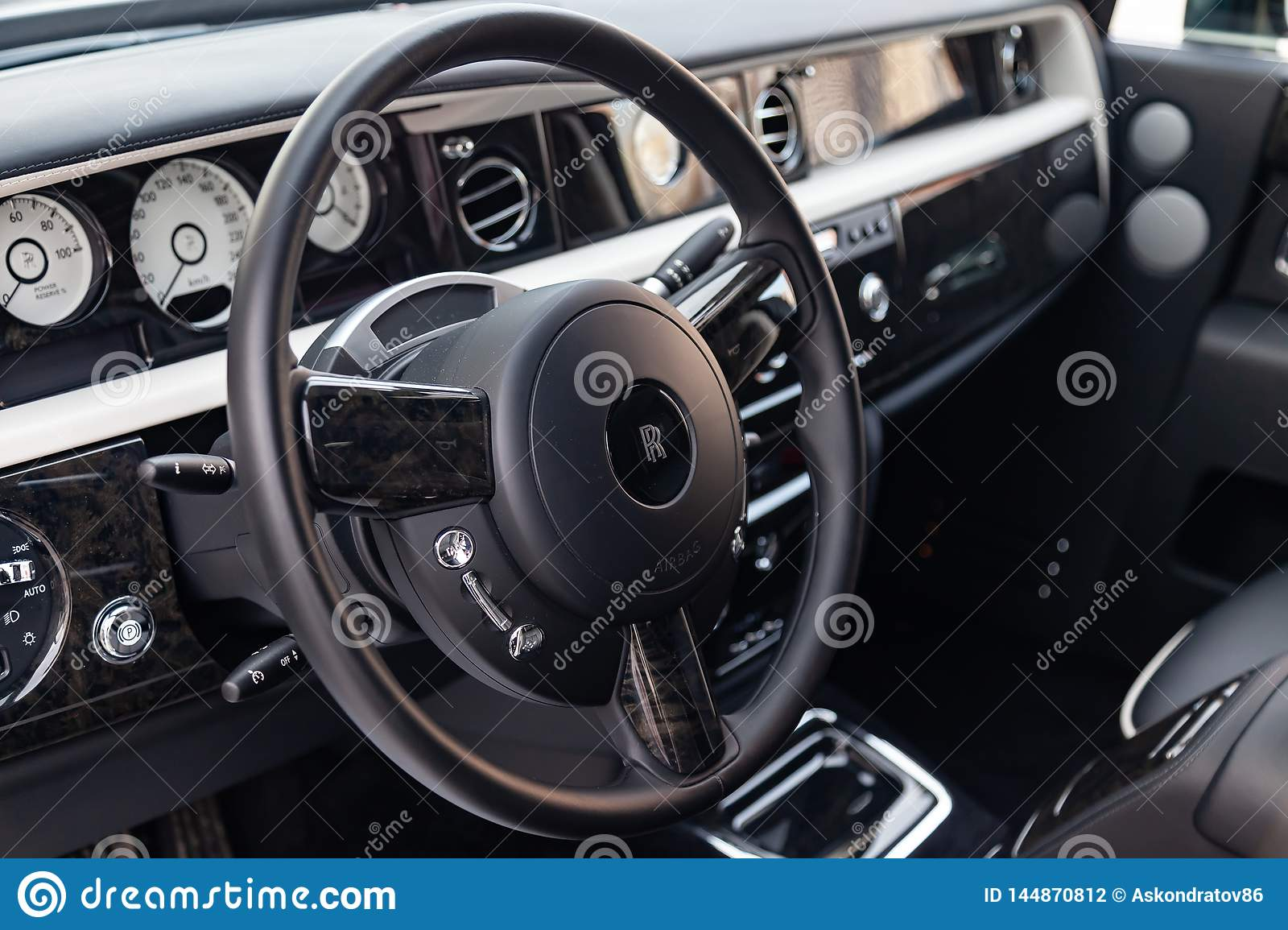 Interior View Of New A Very Expensive Rolls Royce Phantom Car A Long Black Limousine With Dashboard Steering Wheel Seats On Editorial Photography Image Of Chrome Lifestyle 144870812