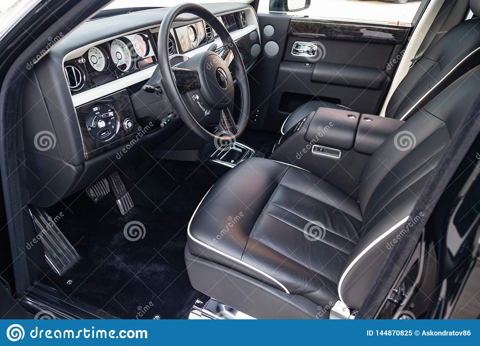 Interior View Of New A Very Expensive Rolls Royce Phantom Car A Long Black Limousine With Dashboard Steering Wheel Seats On Editorial Image Image Of Lifestyle Comfort 144870825
