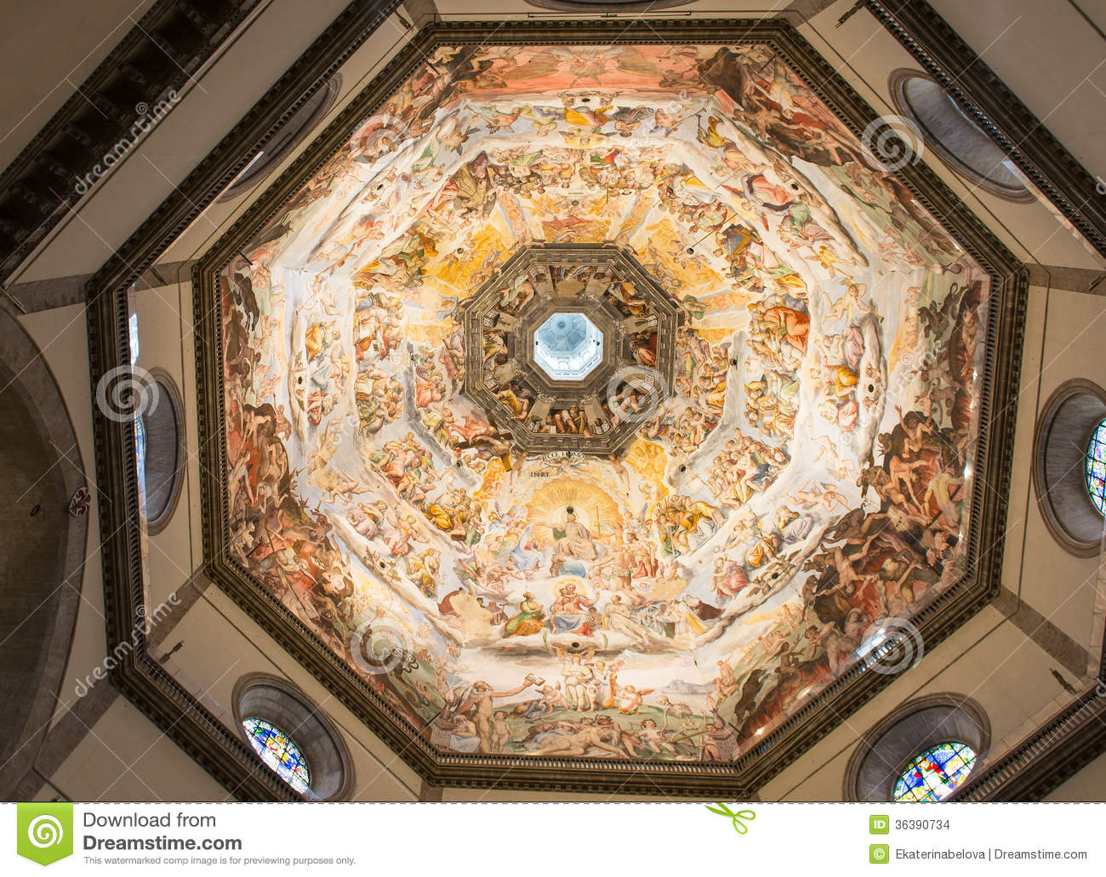 Interior View Of The Painting Of Dome Basilica Di Santa