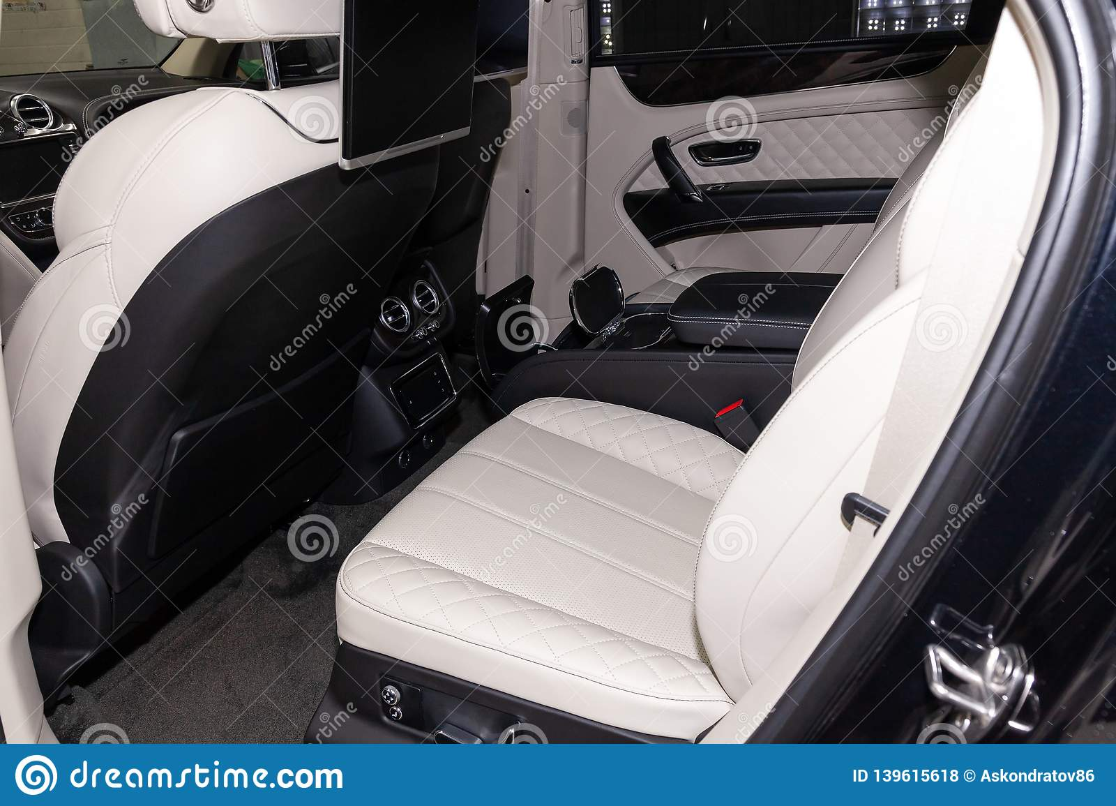 Interior View With Rear Seats Of Luxury Very Expensive New Black Bentley Bentayga Car Stands In The Washing Box Waiting For Repair Editorial Stock Photo Image Of Dashboard Clock 139615618