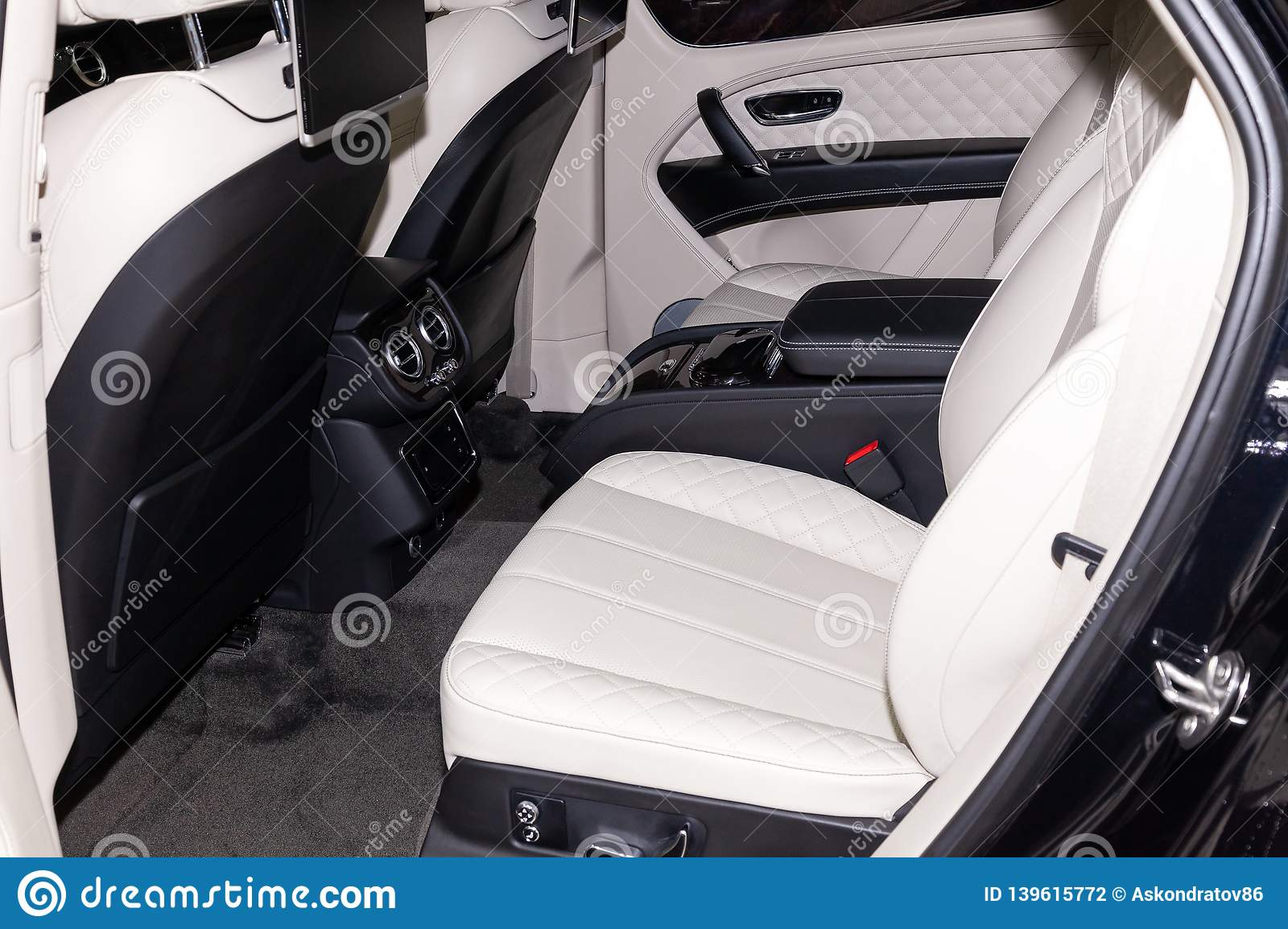 Interior View With Rear Seats Of Luxury Very Expensive New Black Bentley Bentayga Car Stands In The Washing Box Waiting For Repair Editorial Photography Image Of Gear Bentayga 139615772