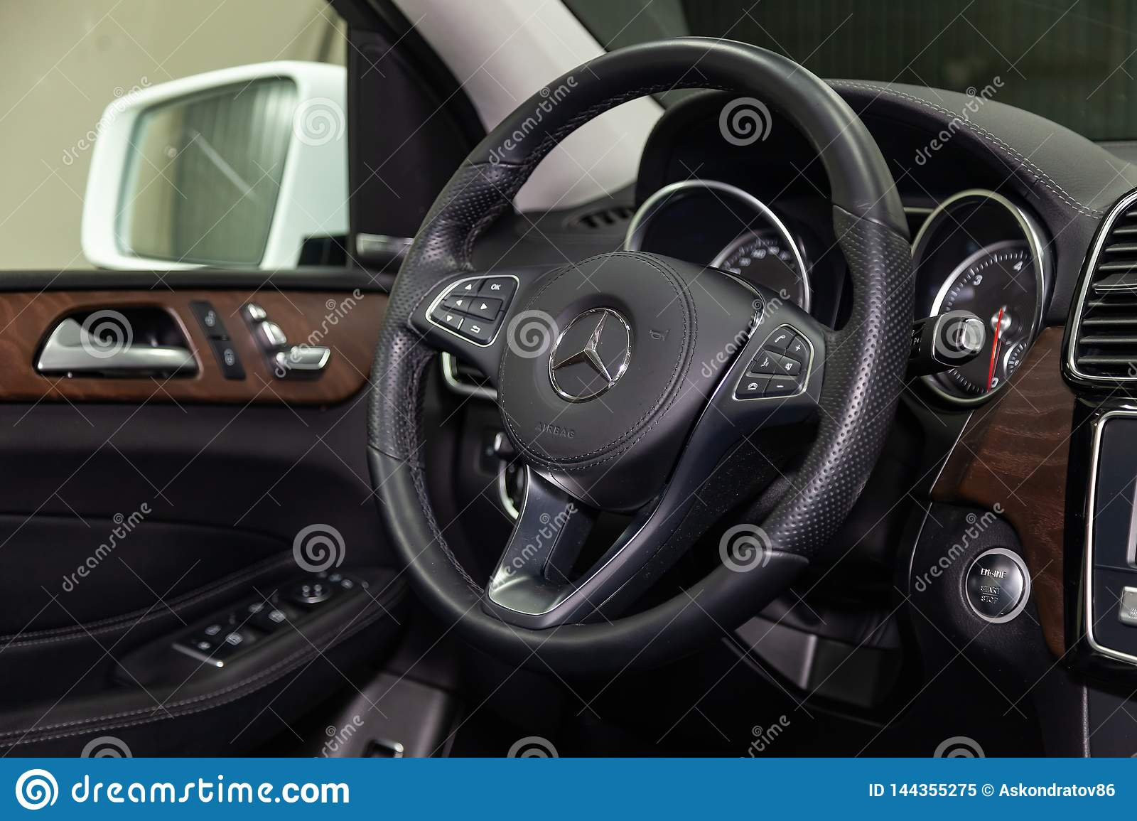 Mercedes Box Suv >> Interior View With Steering Wheel And Dashboard Of Luxury