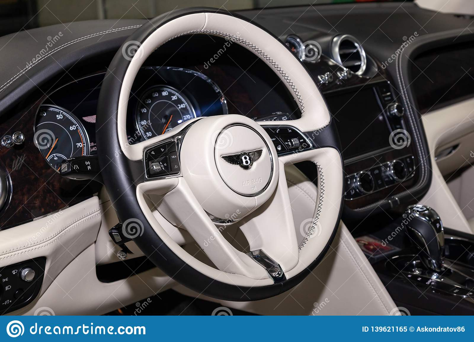 Interior View With Steering Wheel Of Luxury Very Expensive New Black Bentley Bentayga Car Stands In The Washing Box Waiting For Editorial Image Image Of Five Light 139621165