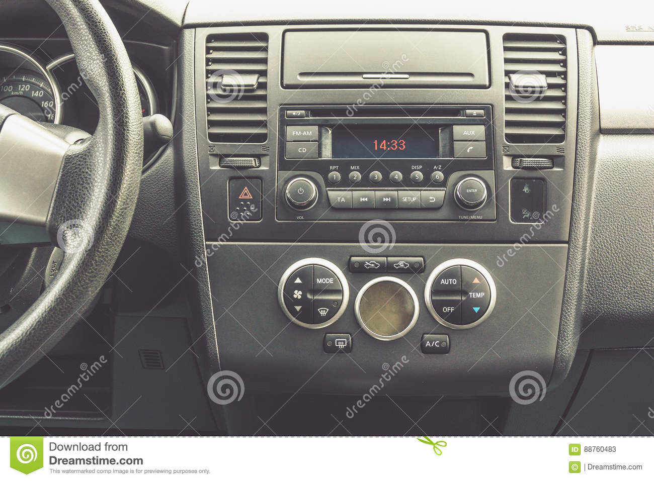 Interior view of vehicle. Modern technology car dashboard close up. Climate