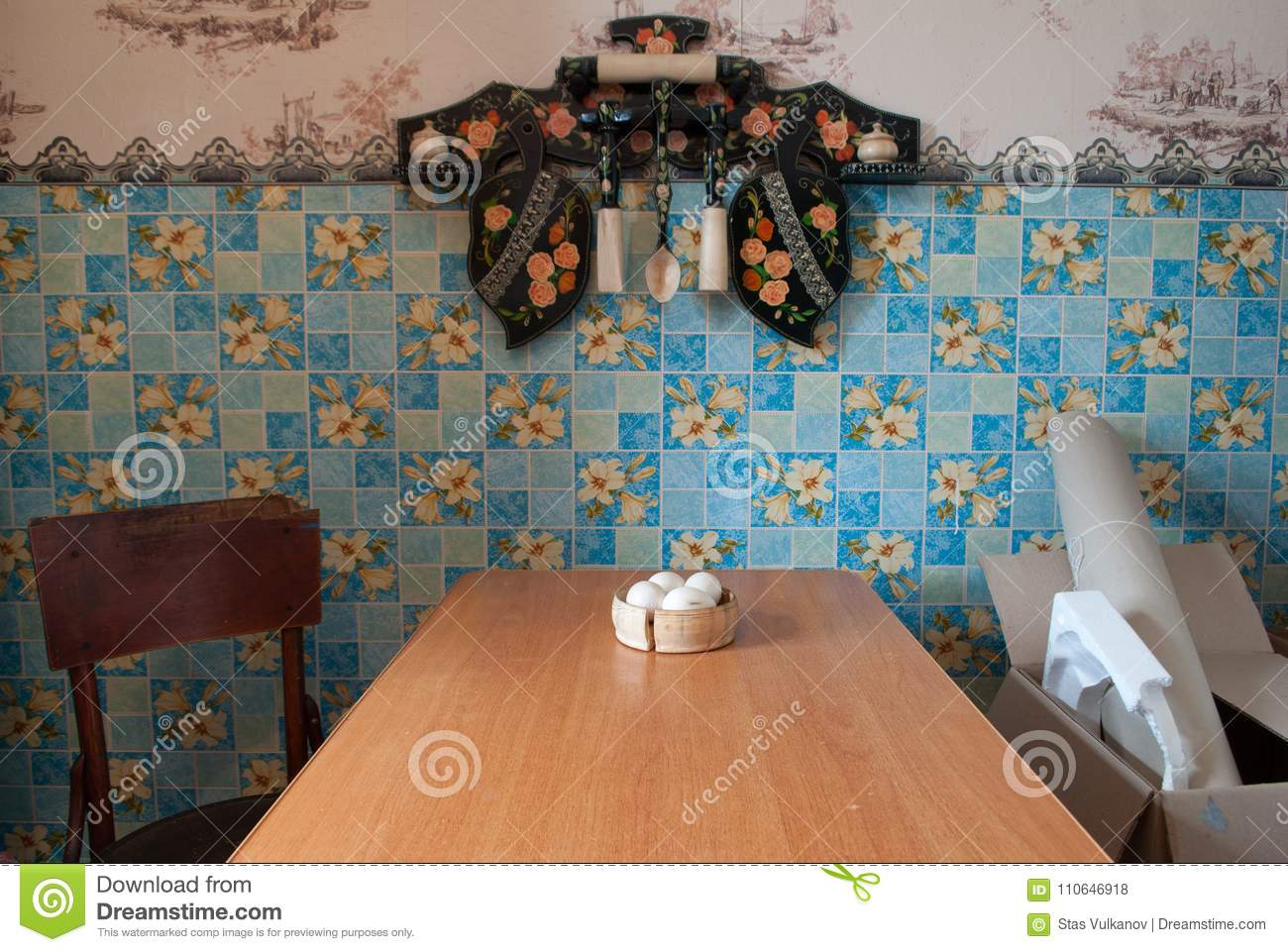 The Interior Of The Village Kitchen, Old Things With History, Stock ...