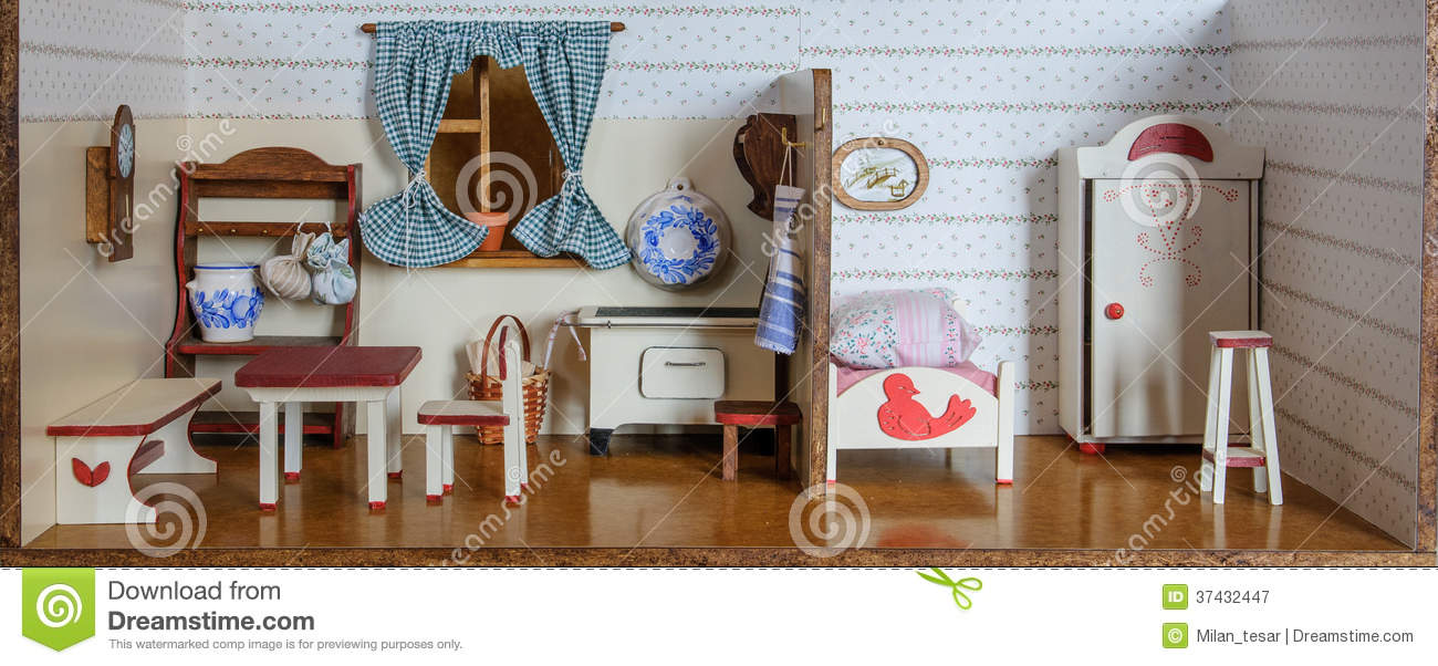 Interior Of Vintage Doll House Royalty Free Stock ...