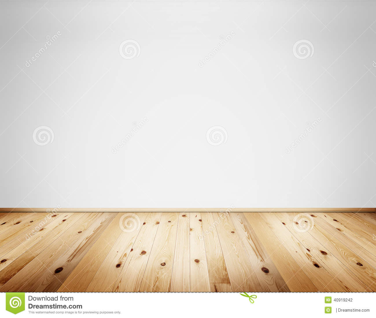 Empty clean interior with white wall and natural wooden rustic floor
