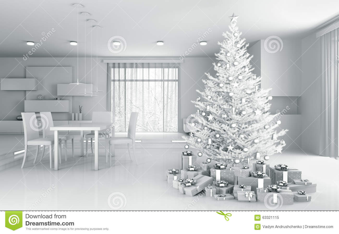 Interior Of A White Apartment With Christmas Tree 3d