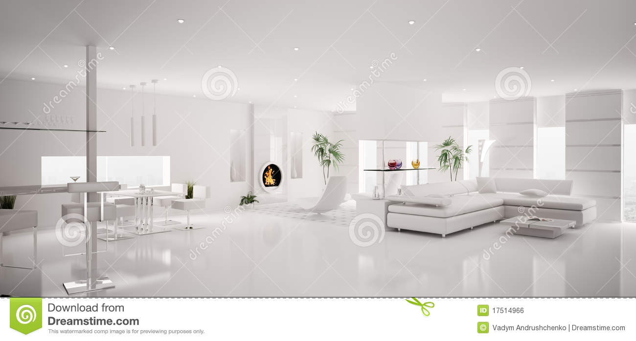 Interior Of White Apartment Panorama 3d Royalty Free Stock