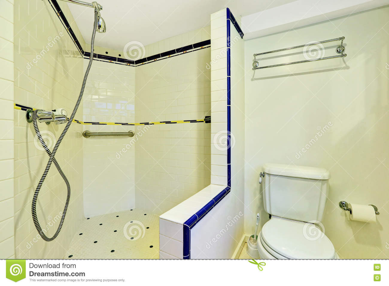 Interior Of White Bathroom With Large Walk In Shower Stock