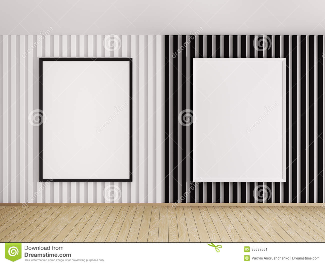 interior with white and black frames
