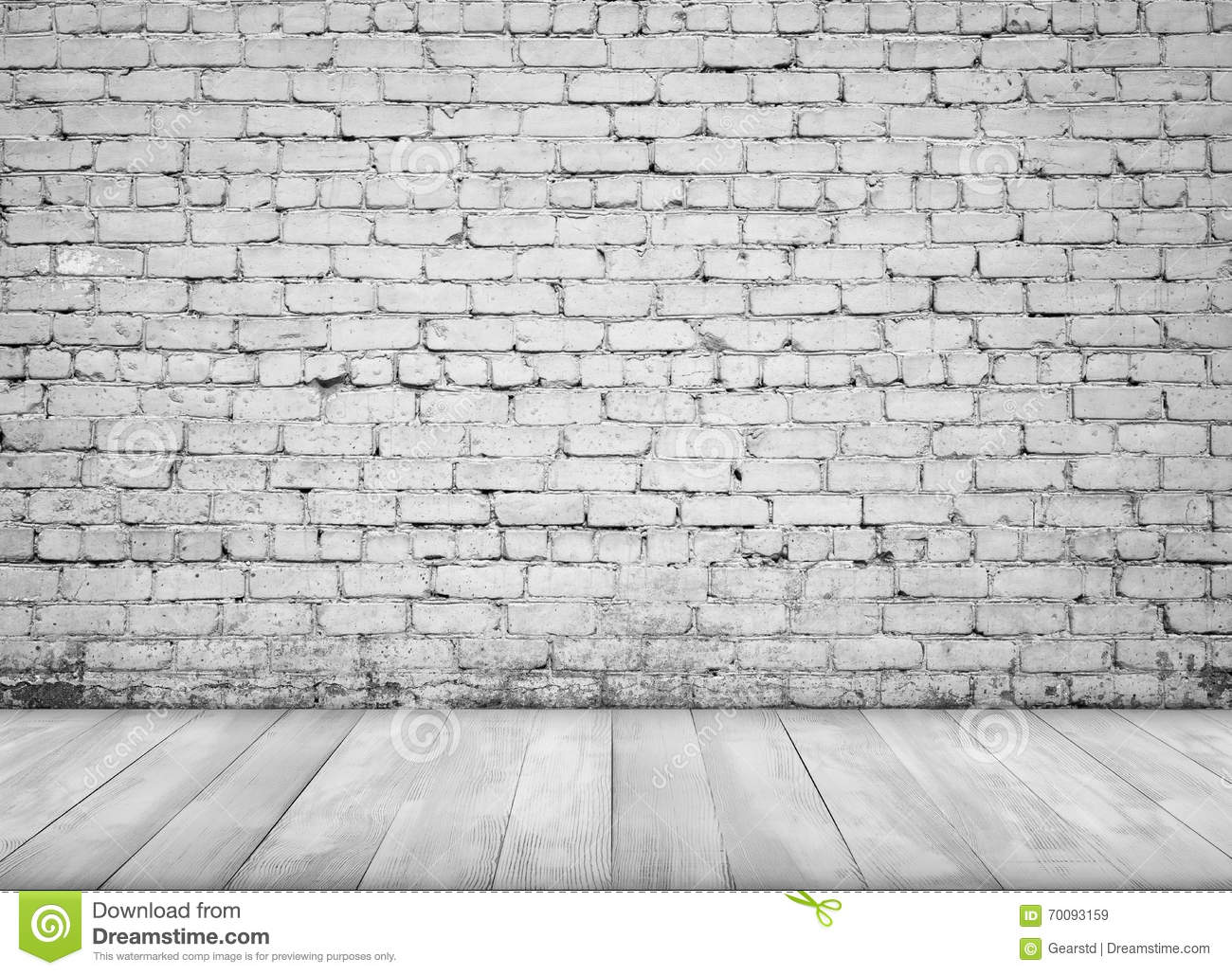 White Brick Wall Of Interior With White Brick Wall And Wooden Floor For