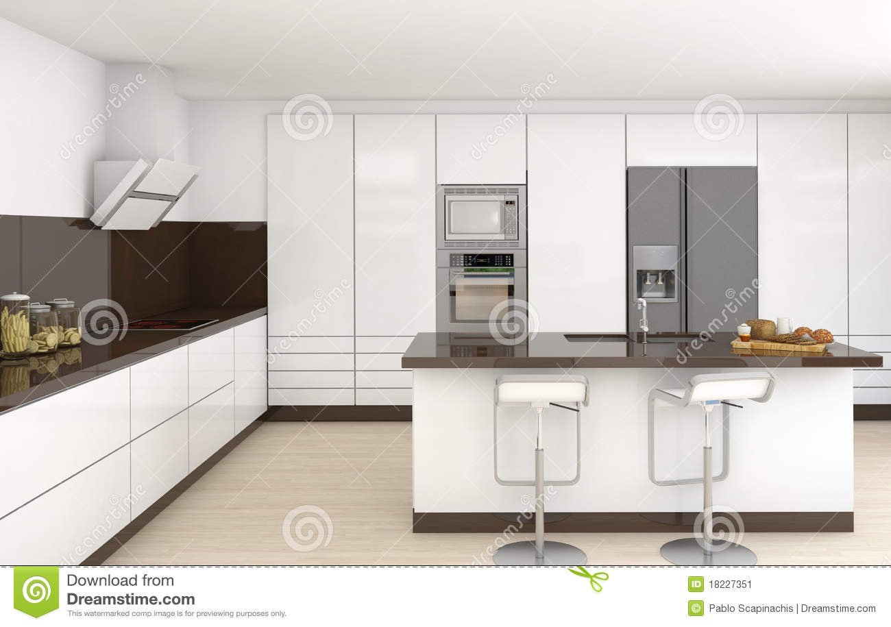 Interior White And Brown Kitchen Stock Illustration