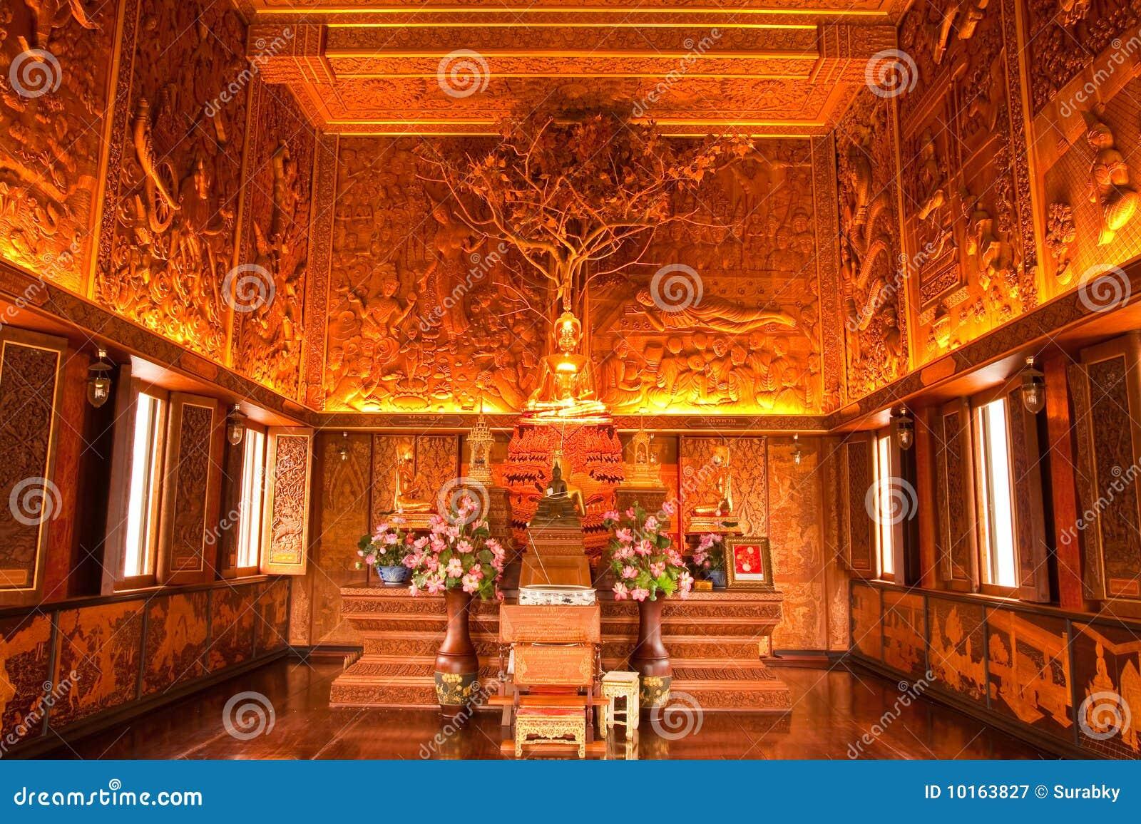 Interior Of Wholly Teak Wood Church Thailand Royalty Free
