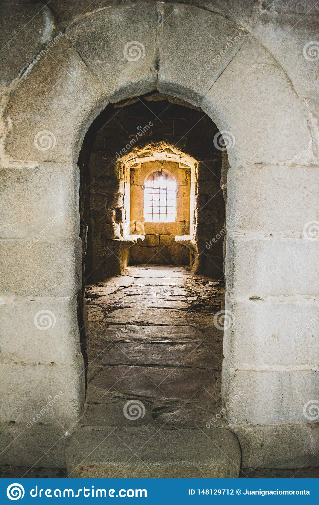 interior window of the castle in the abandoned village
