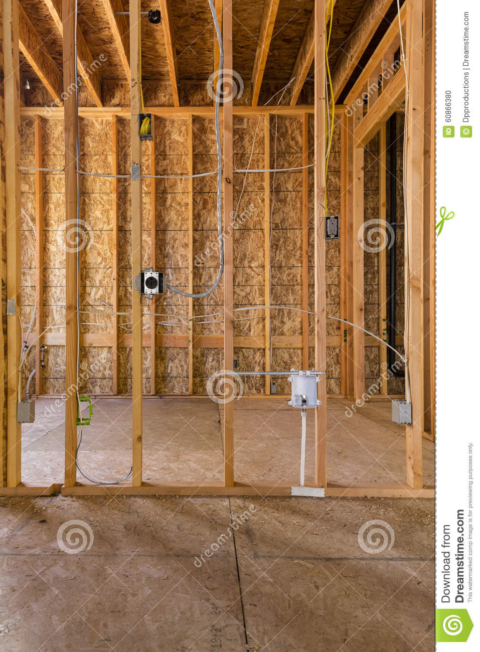 interior wood frame construction electrical