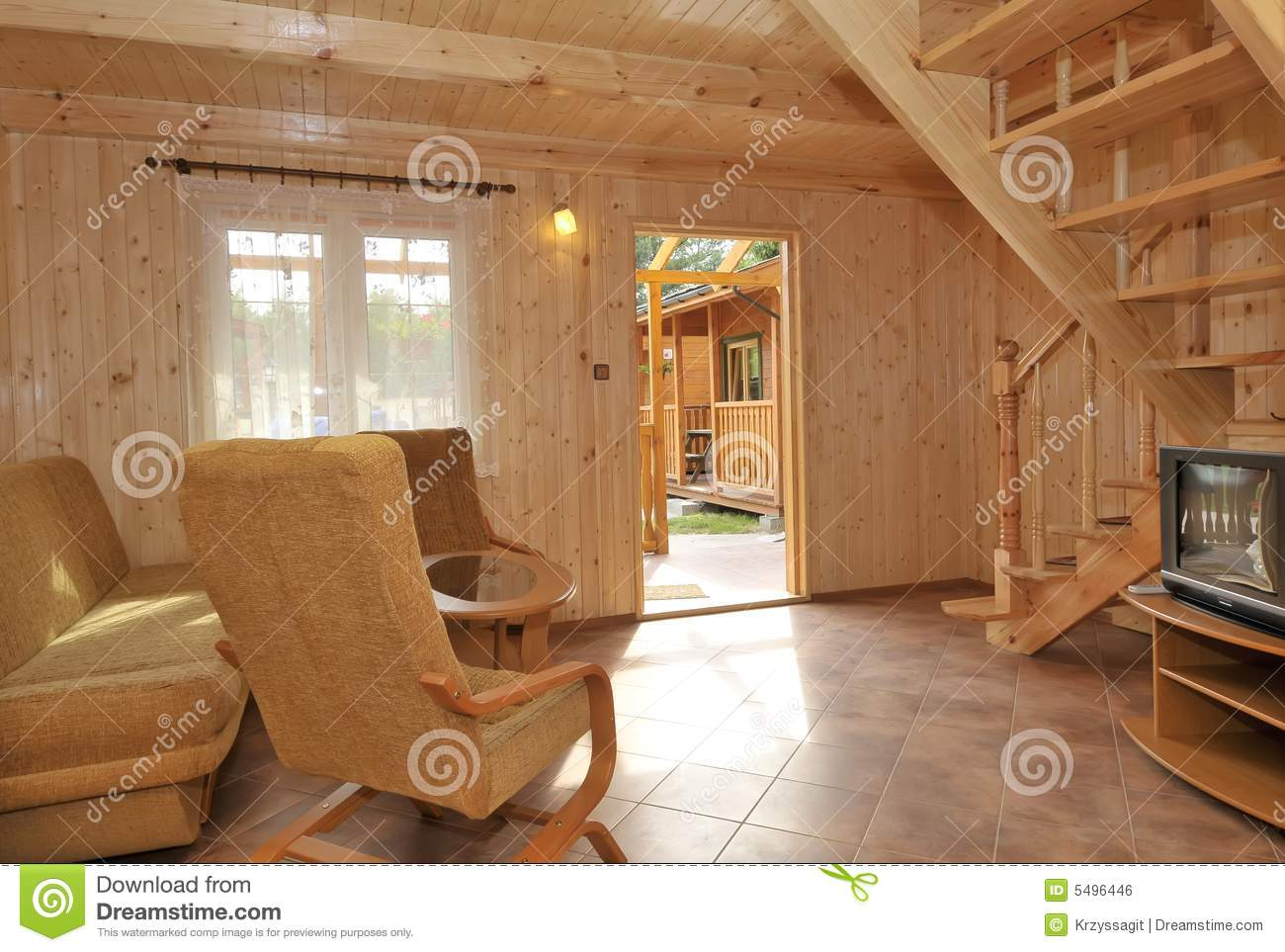 Interior of wood paneled house stock photo image 5496446 for Wooden house inside