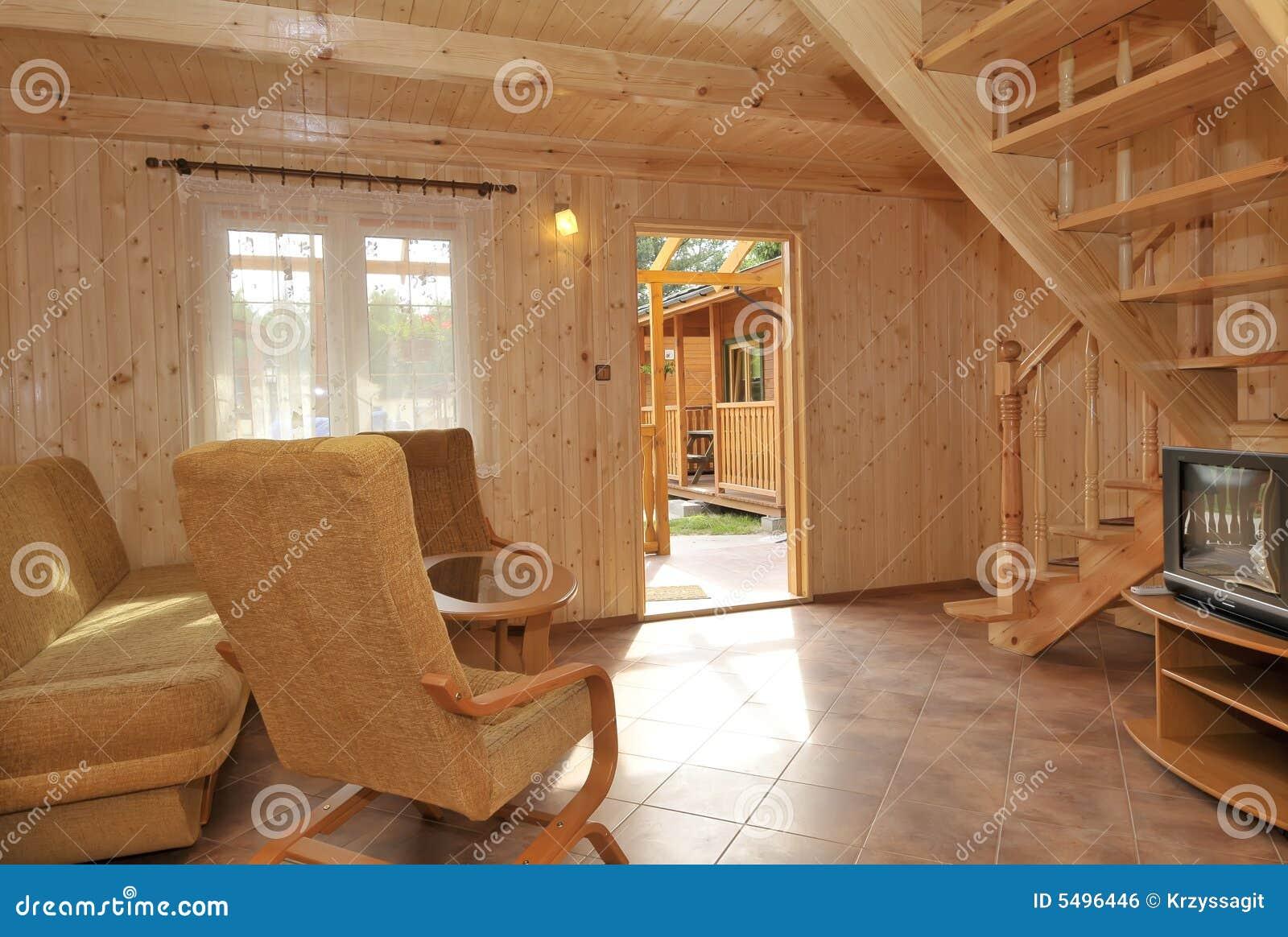 Interior of wood paneled house