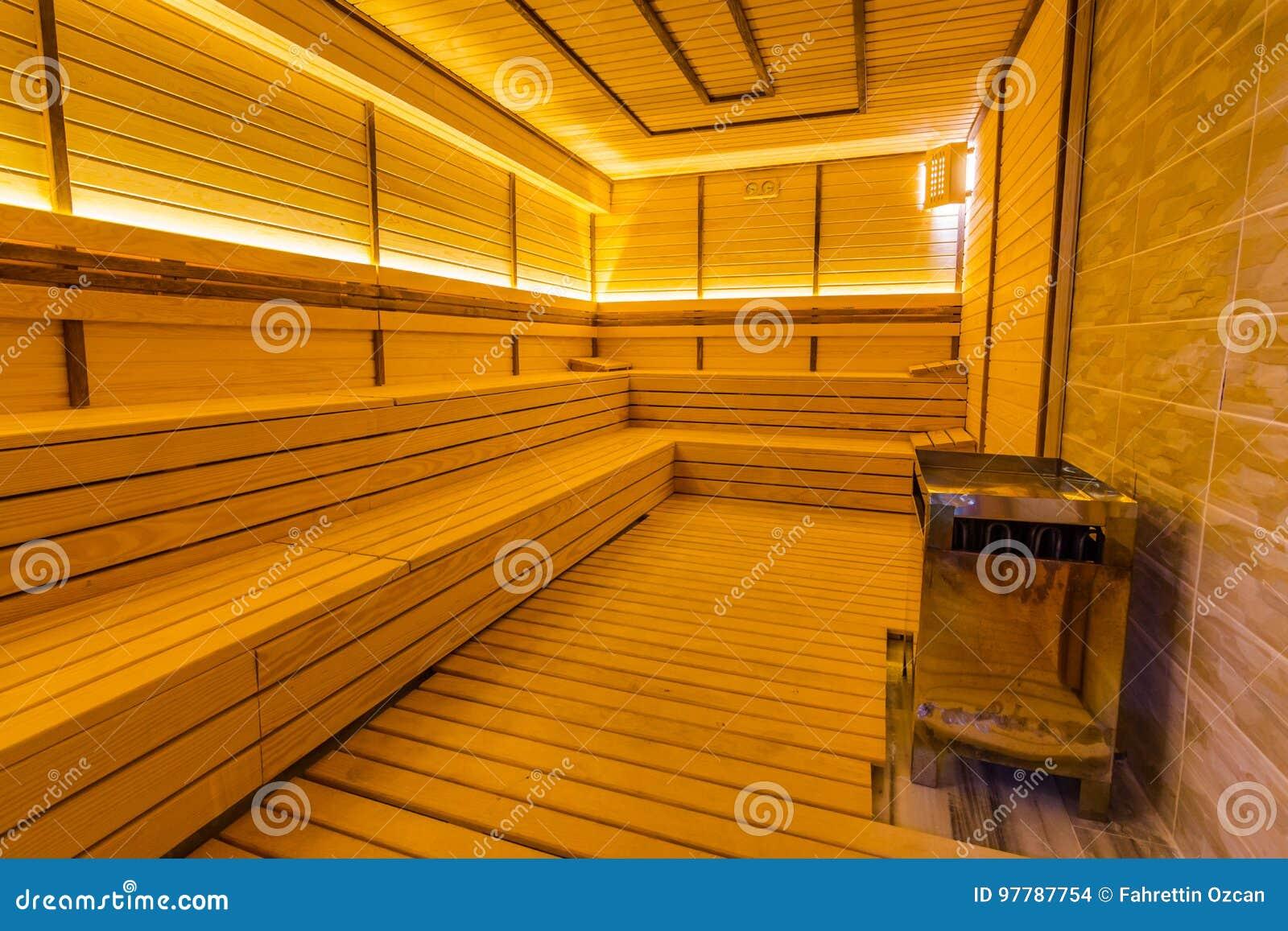 Interior of a wooden finnish sauna.